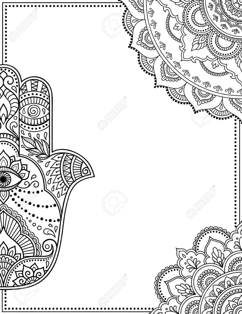 Stylized With Henna Tattoos Decorative Pattern For Decorating ...