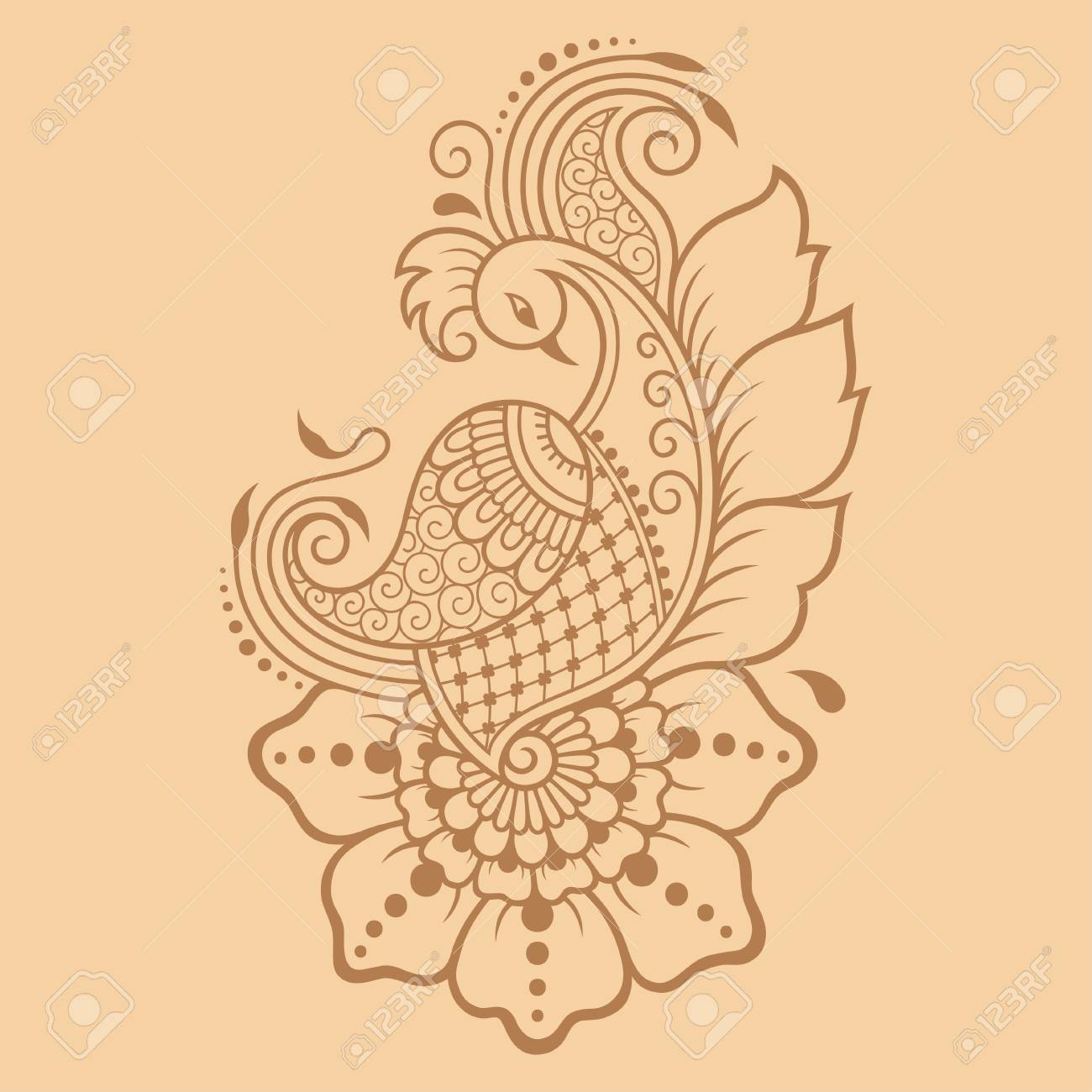 henna tattoo flower and bird template stock vector 87783674