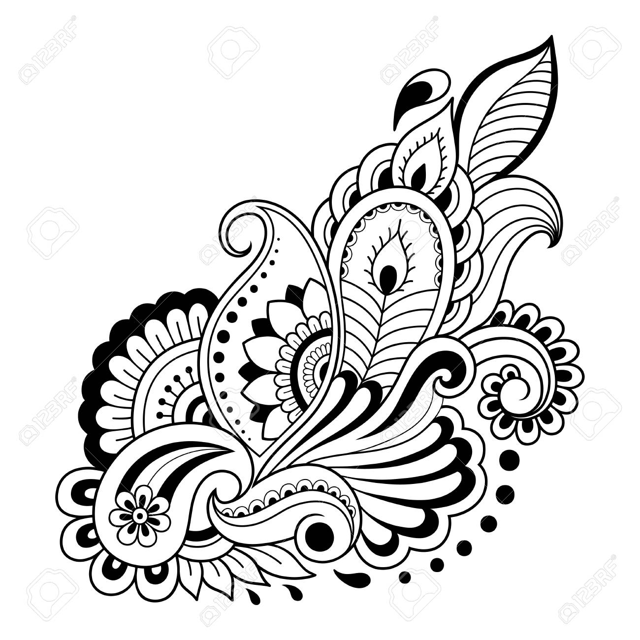 Henna Tattoo Flower Template In Indian Style Ethnic Floral Paisley ...