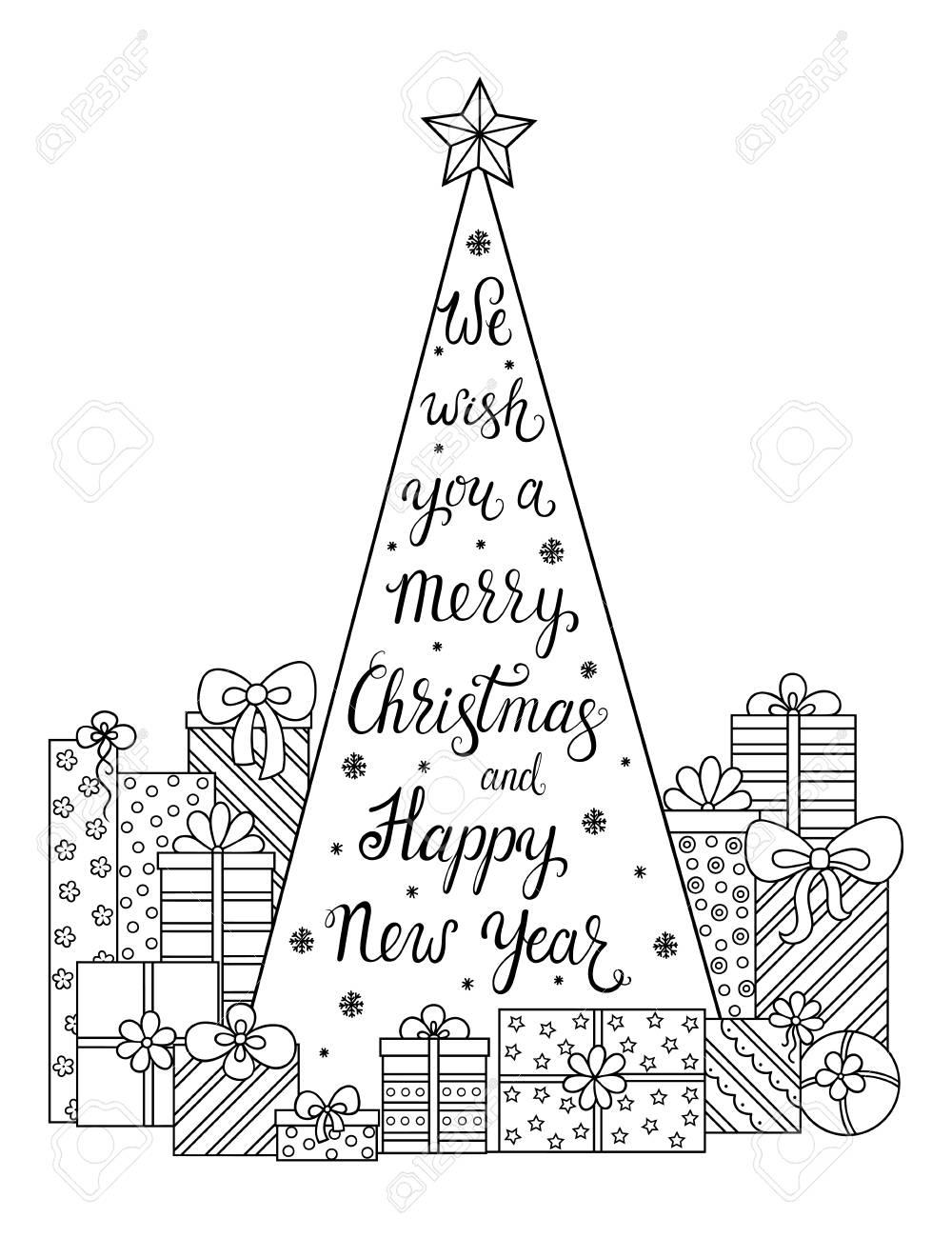 Gekritzel-Muster. Wir Wünschen Ihnen Frohe Weihnachten Und Ein ...