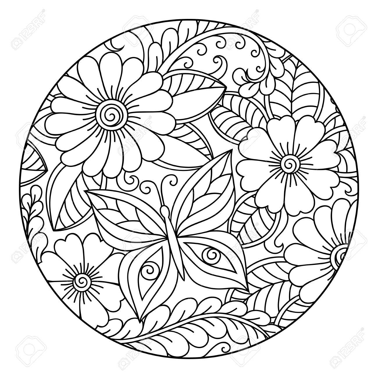 Esquema Redondo Patrón Floral Para Colorear Para Colorear Antiestrés Colorear Para Adultos Y Adultos Patrón De Dibujo Azul En Negro Mano Dibujar La