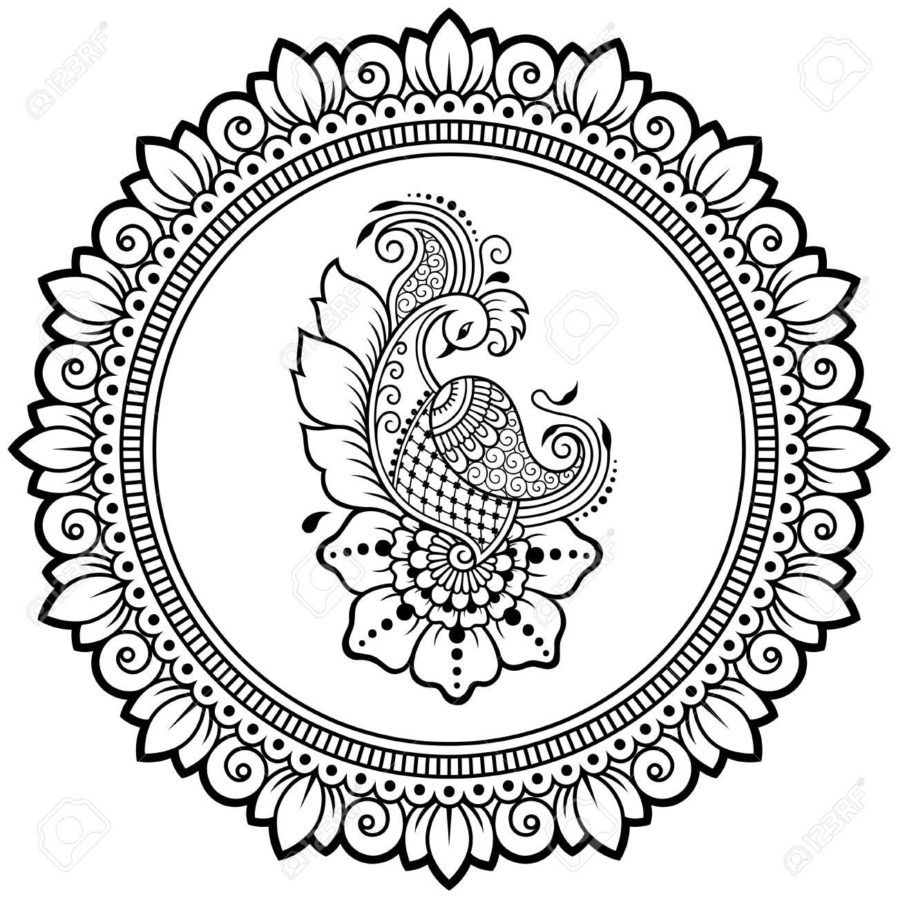 circular pattern in form of mandala with bird template peacock