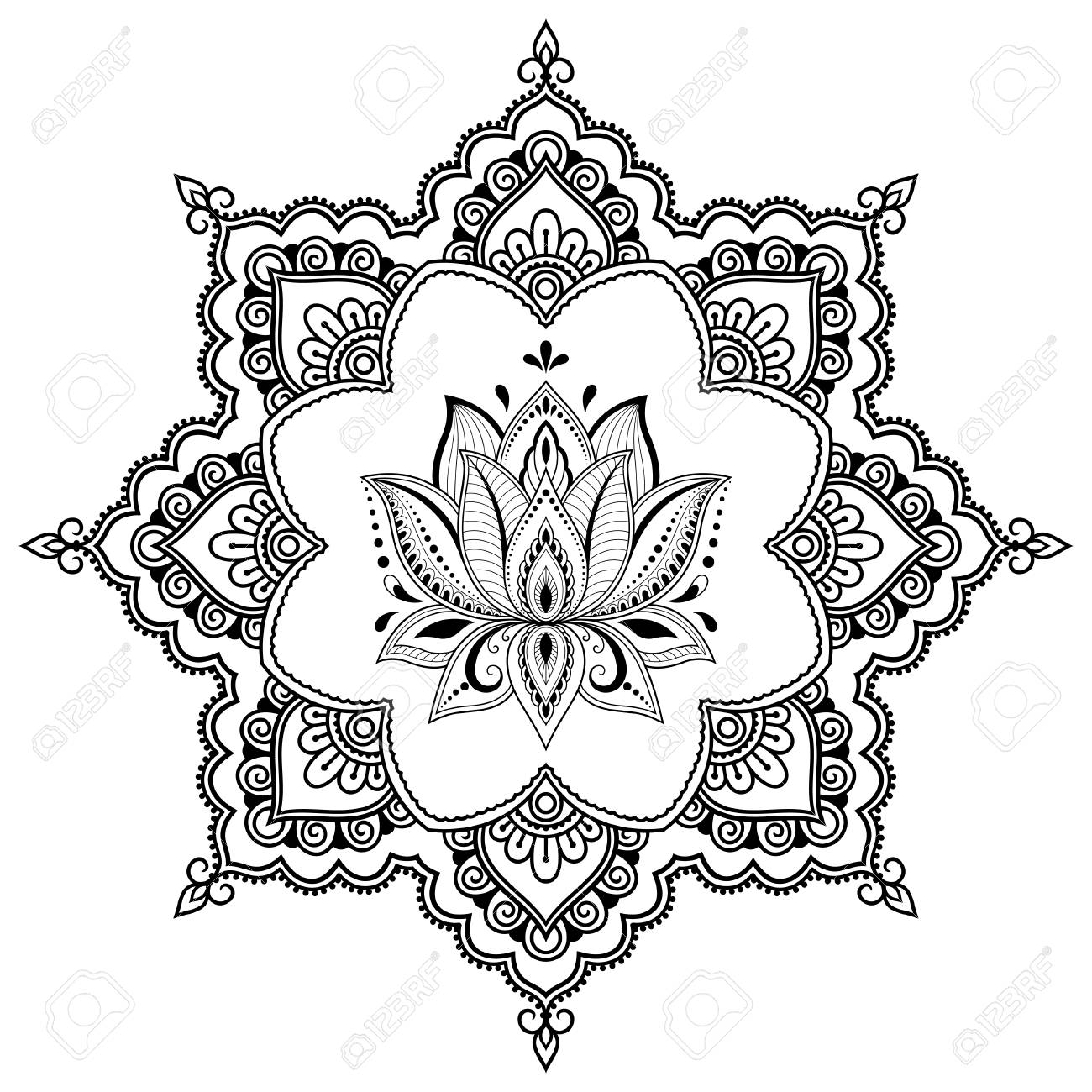 Circular pattern in form of mandala with Lotus flower for Henna, Mehndi, tattoo, decoration. Decorative ornament in ethnic oriental style. Coloring book page. - 112342375
