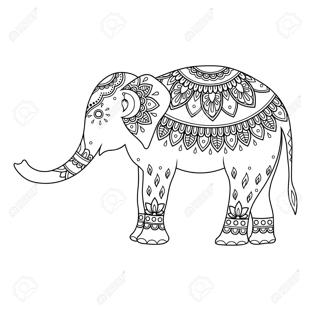 Elephant decorated with Indian ethnic floral vintage pattern...
