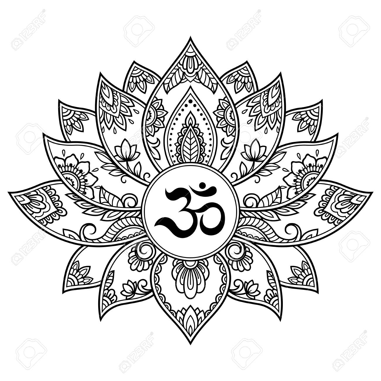 Mehndi Lotus Flower Pattern With Mantra Om Symbol For Henna Drawing