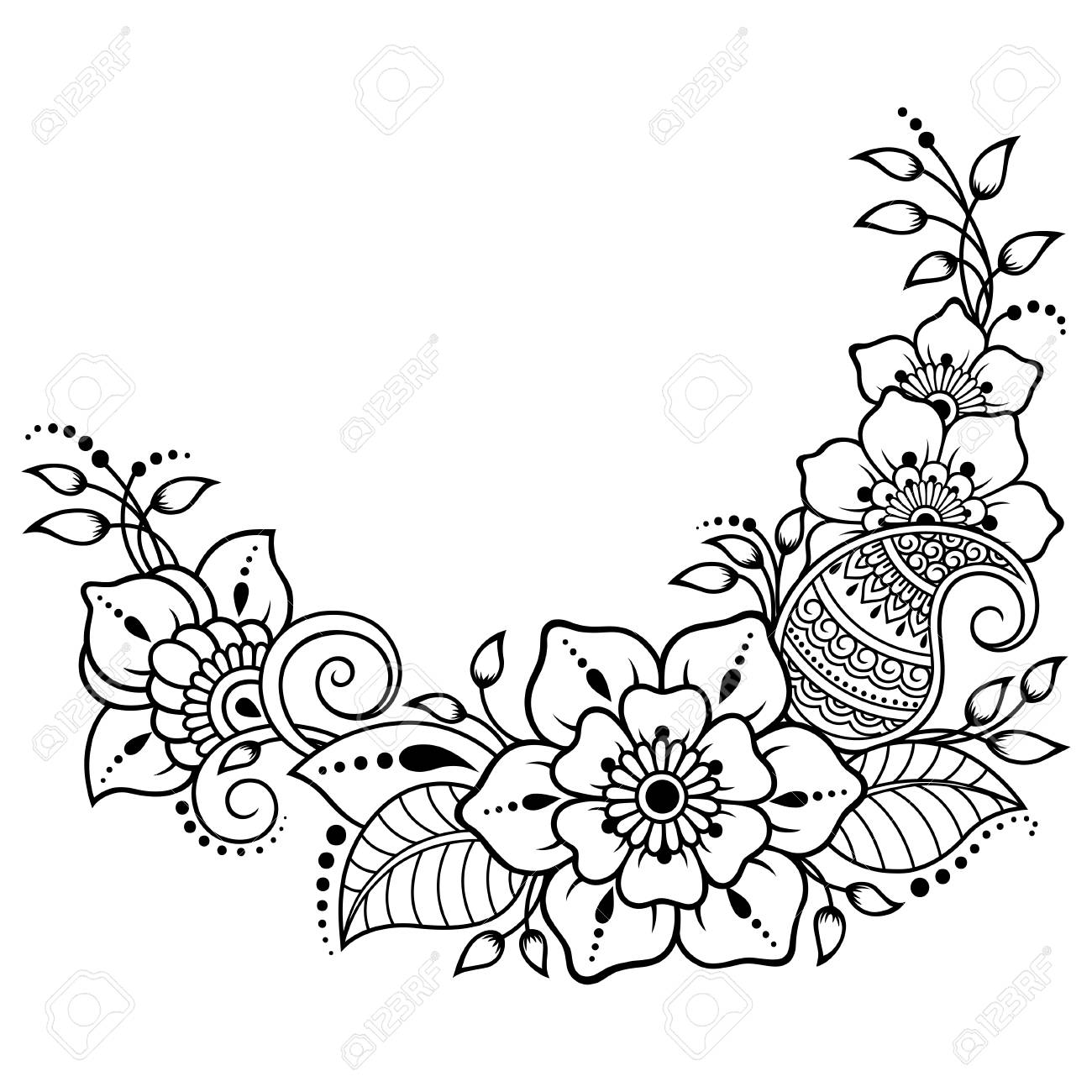 Mehndi Flower Pattern For Henna Drawing And Tattoo Decoration