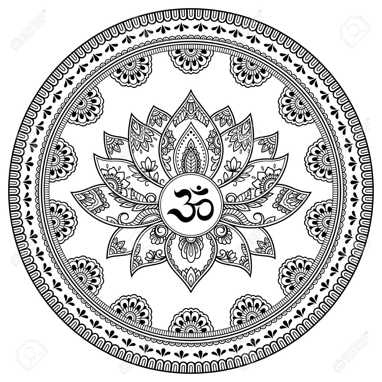 Circular pattern in form of mandala with lotus flower for henna circular pattern in form of mandala with lotus flower for henna mehndi tattoo mightylinksfo