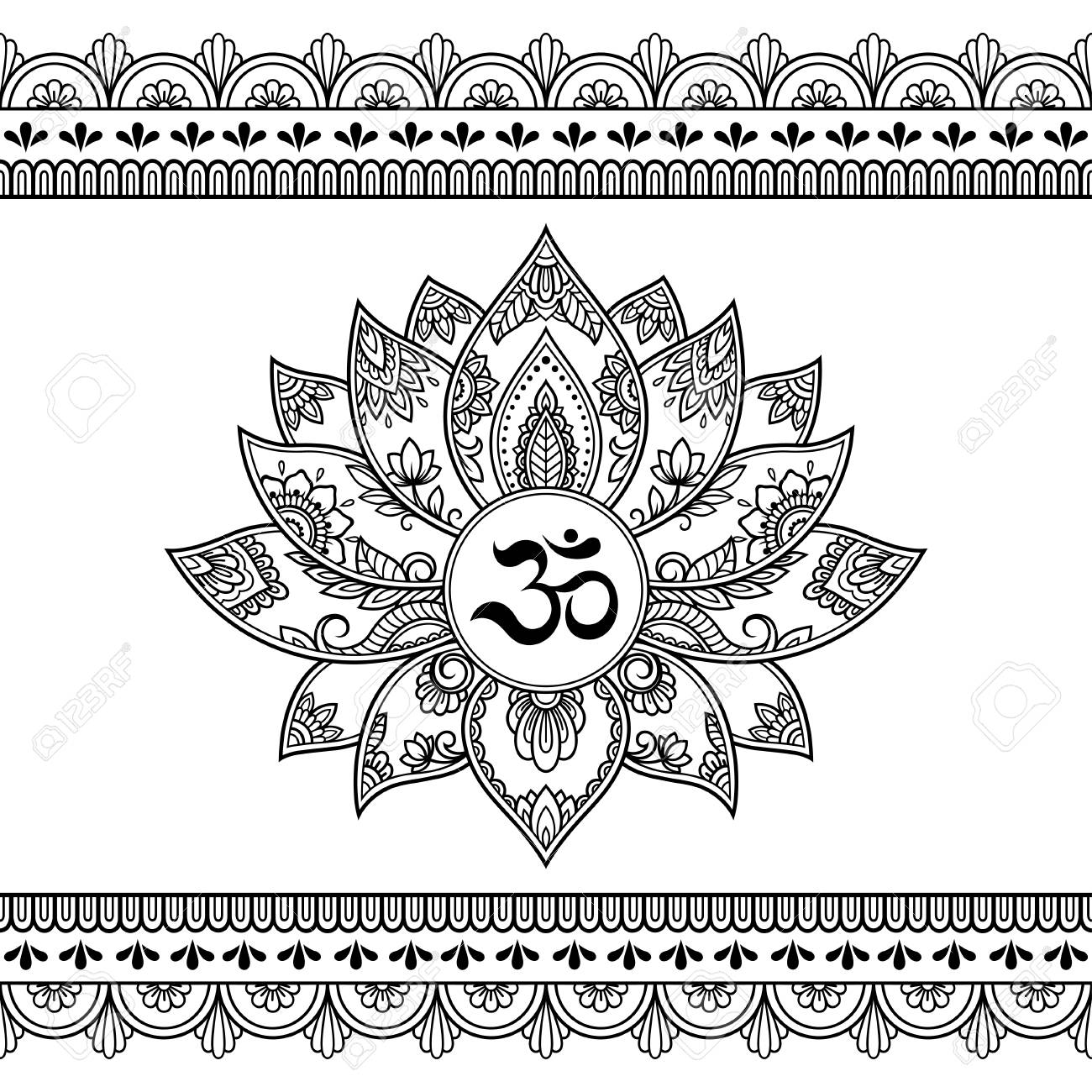 b6c23f26b Mehndi Lotus flower pattern with mantra OM symbol and seamless border for Henna  drawing and tattoo