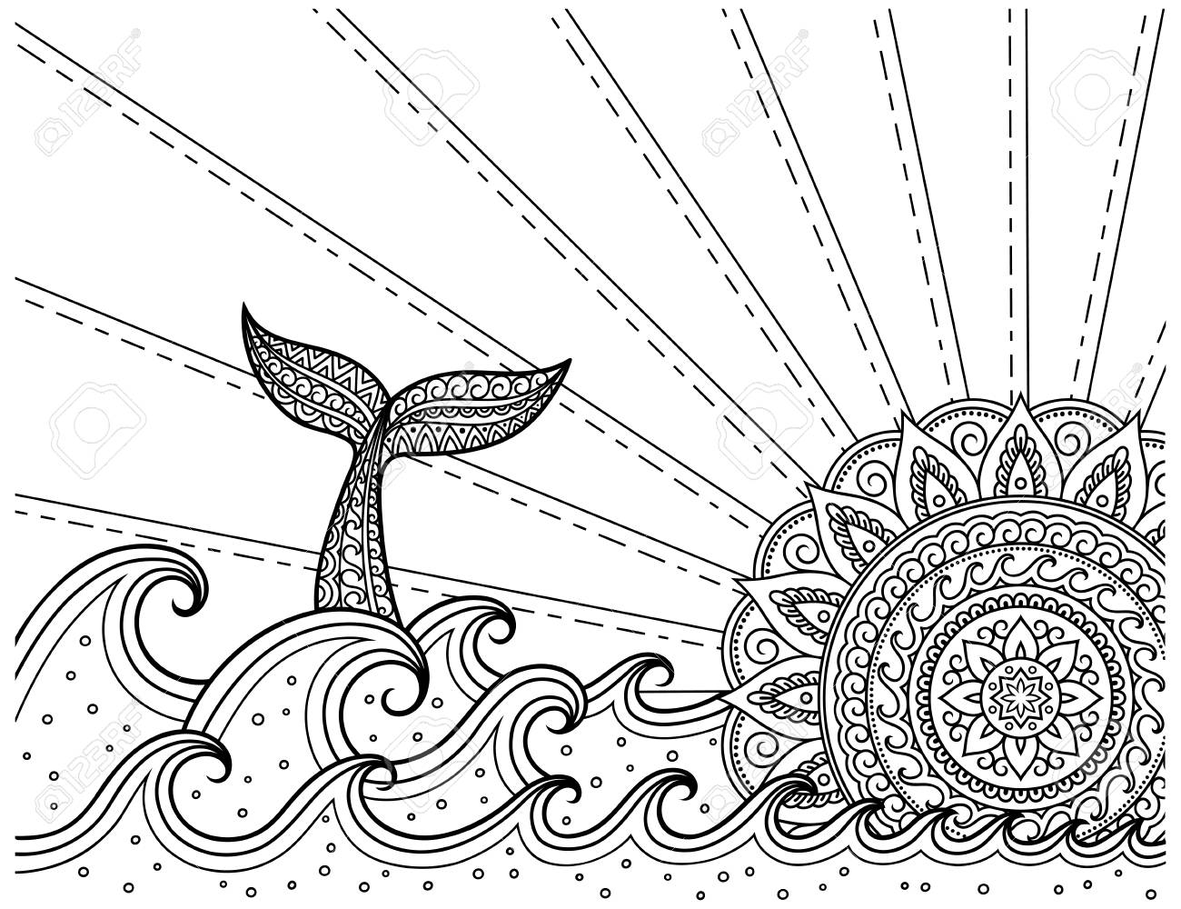 Whale Diving Into Sea Against The Sunset. Coloring Book Page ...