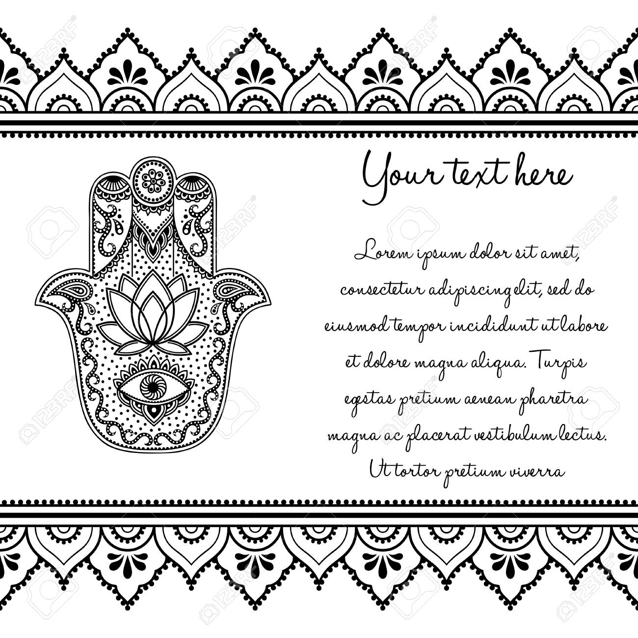 7c177d9a0 Set of Mehndi ancient hand drawn symbol Hamsa pattern and seamless border  for Henna drawing and