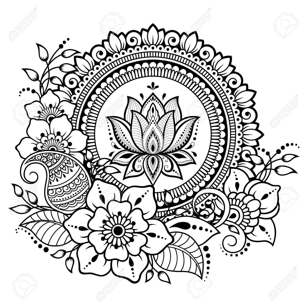 Circular pattern in form of mandala with lotus flower for Henna, Mehndi, tattoo, decoration. Decorative ornament in ethnic oriental style. Coloring book page. - 110244803