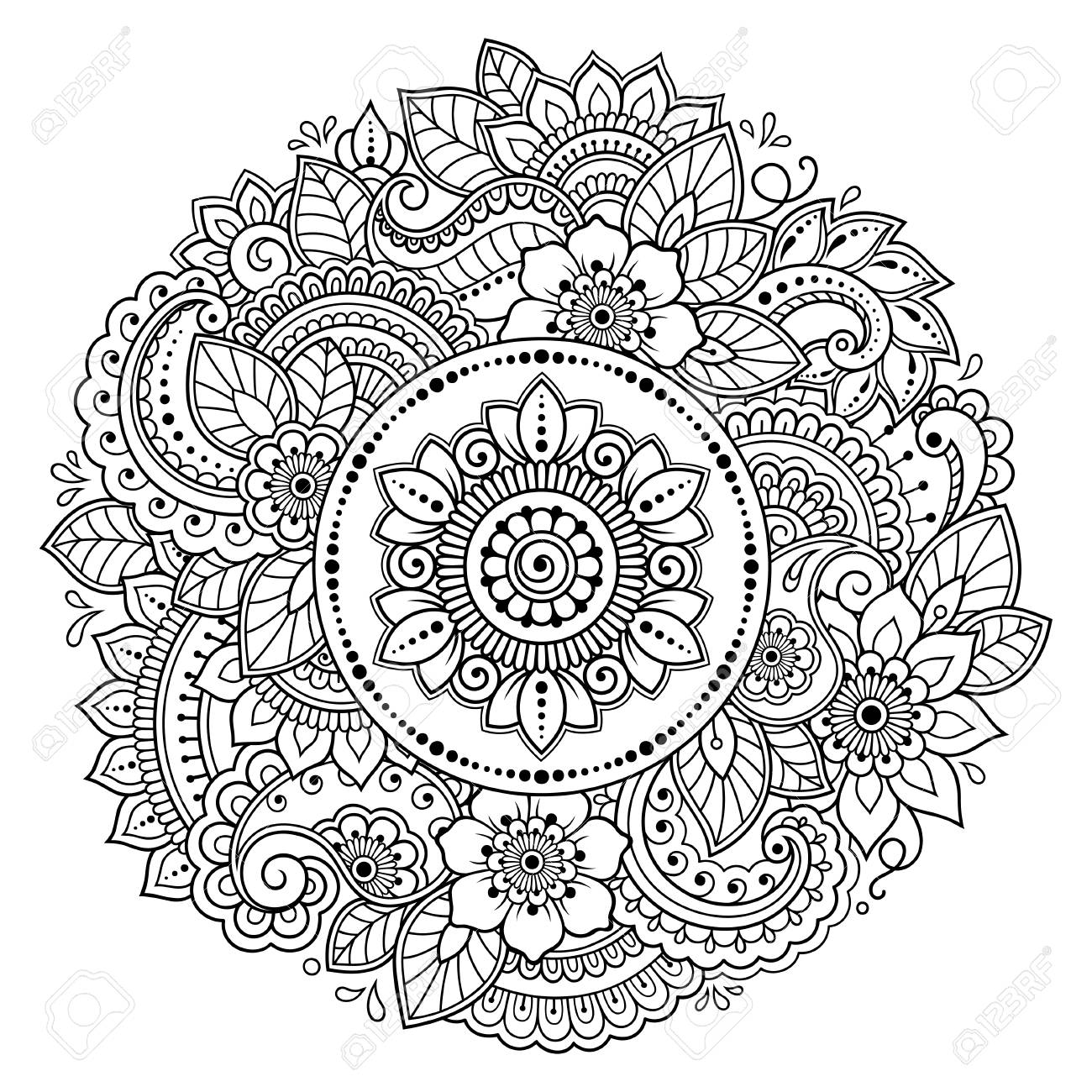 circular pattern in form of mandala with lotus flower for henna mehndi tattoo decoration decorative