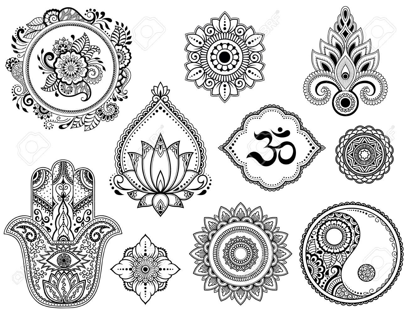 Big Set Of Mehndi Flower Pattern Lotus Mandala Mantra Om