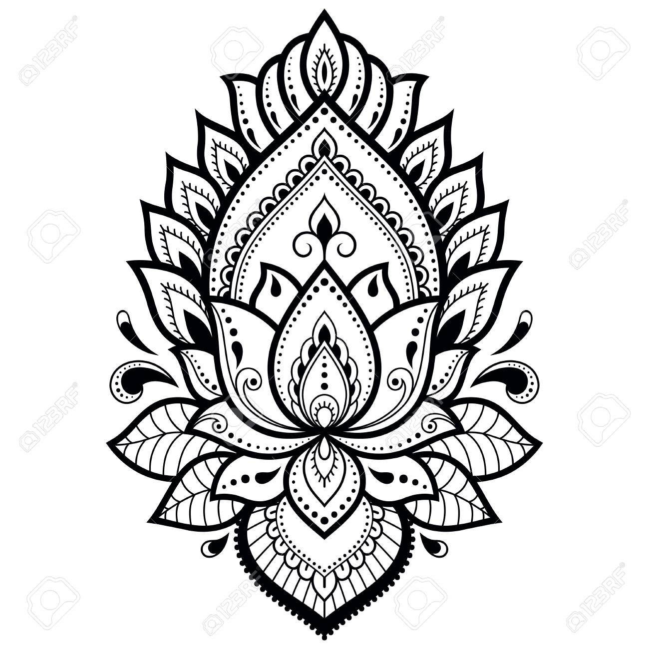 Mehndi Lotus flower pattern for Henna drawing and tattoo. Decoration..