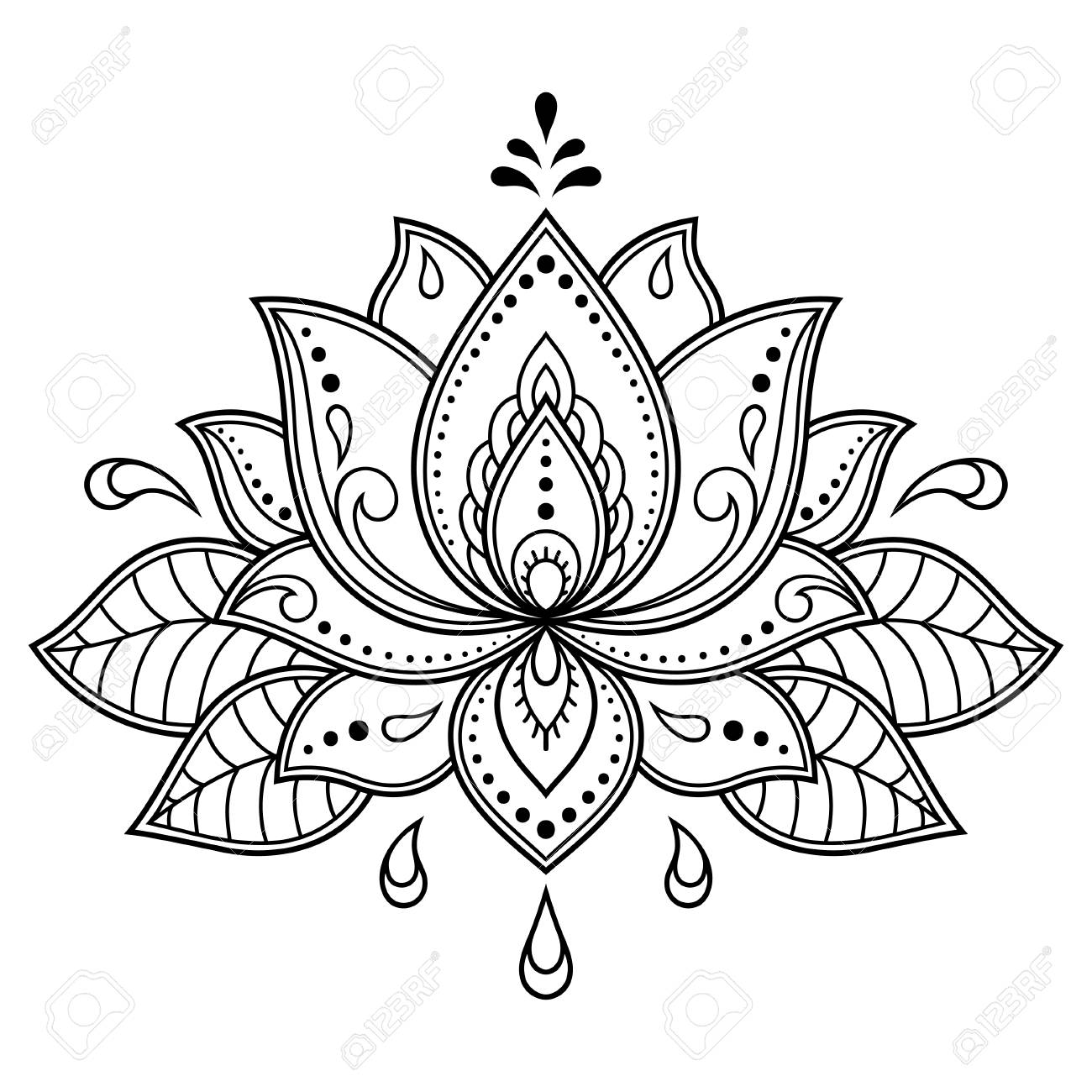 Mehndi Lotus Flower Pattern For Henna Drawing And Tattoo Decoration Royalty Free Cliparts Vectors And Stock Illustration Image 125577052
