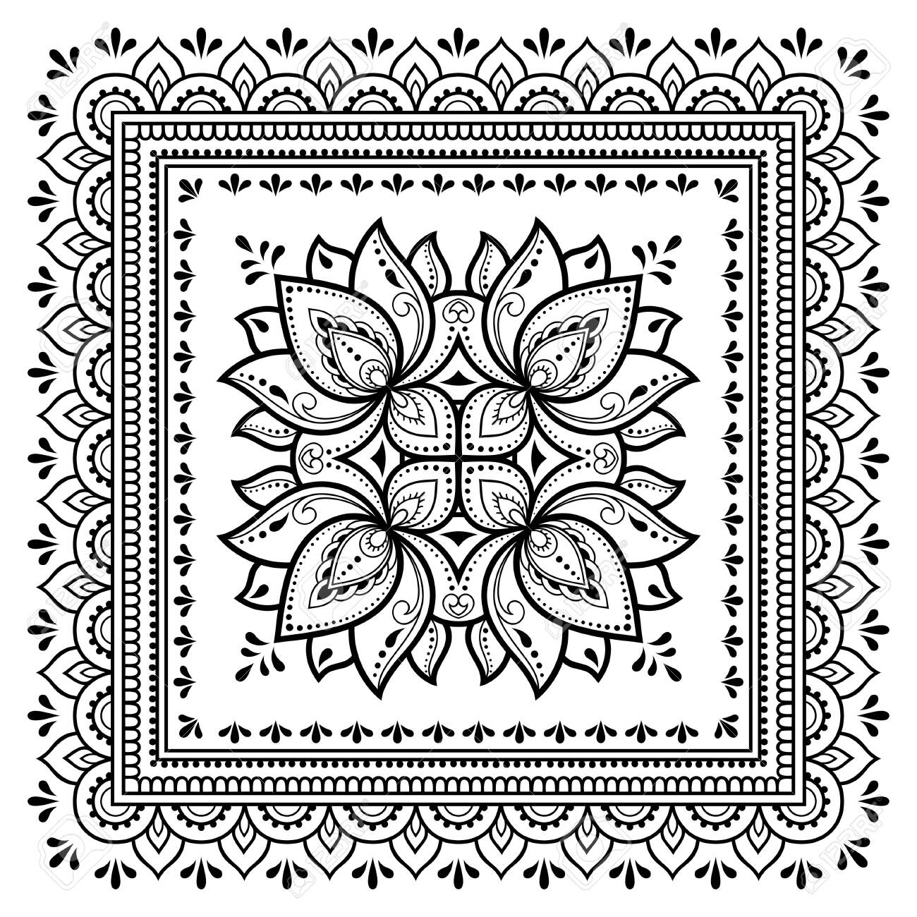 Square pattern in form of mandala with Lotus flower for Henna, Mehndi, tattoo, decoration. Decorative ornament in ethnic oriental style. Outline doodle hand draw vector illustration. - 129992487