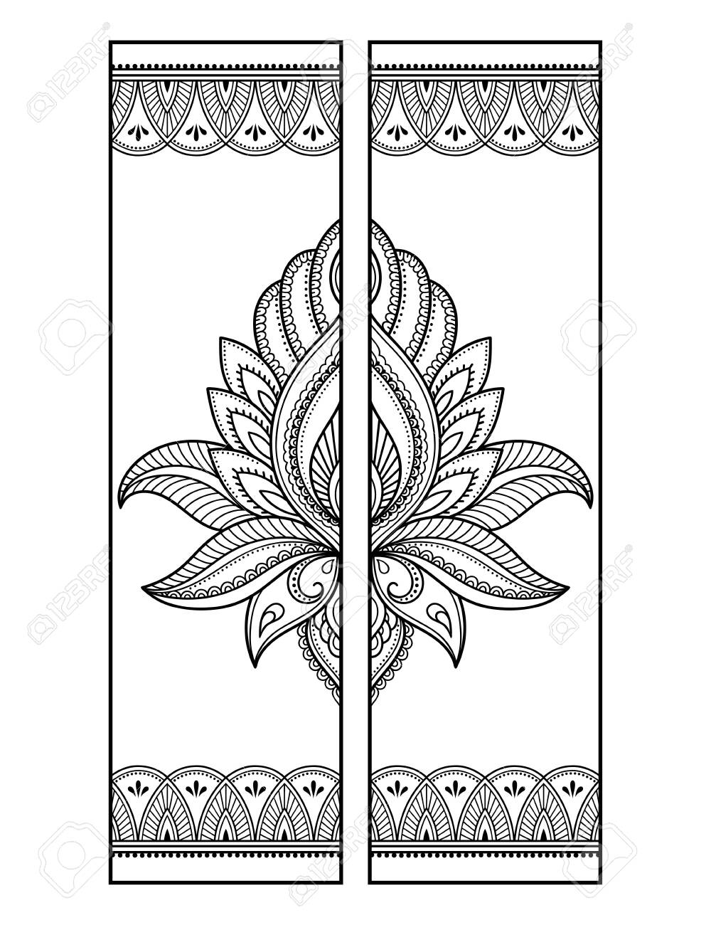 Printable bookmark - coloring. Set of black and white labels..