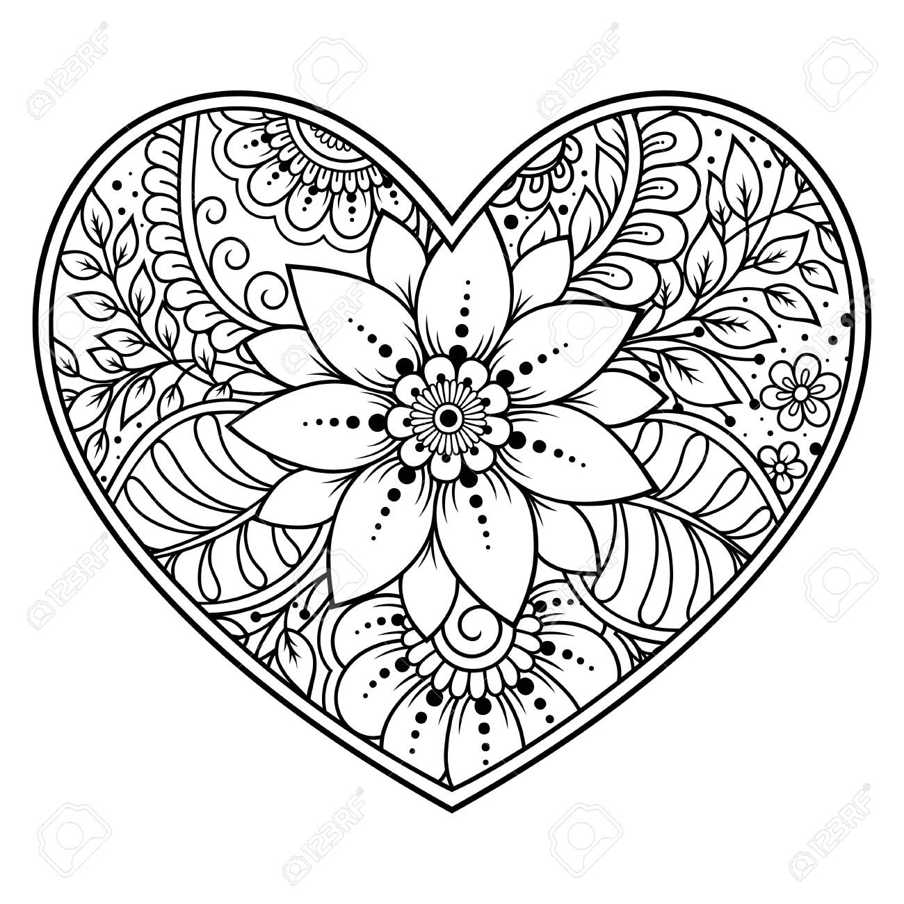 Mehndi flower pattern in form of heart for Henna drawing and tattoo. Decoration in ethnic oriental, Indian style. Valentine's day greetings. Coloring book page. - 131297721