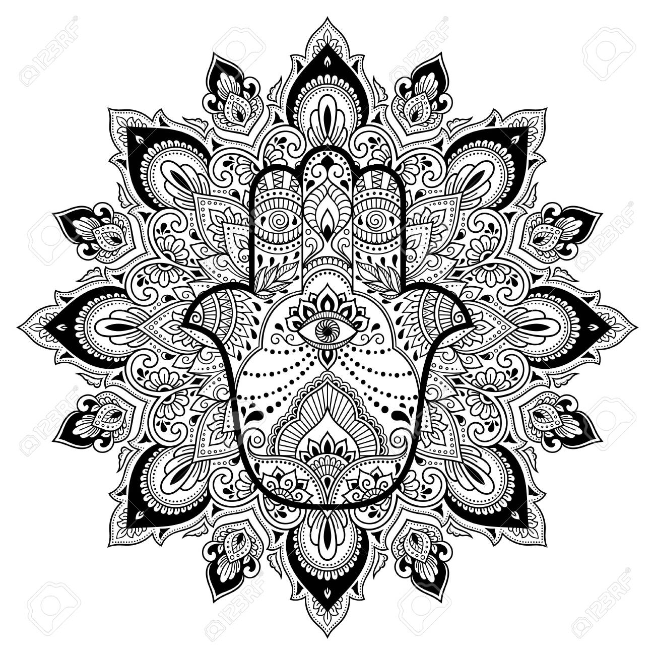 Circular pattern in form of mandala for Henna, Mehndi, tattoo, decoration. Decorative ornament in oriental style with Hamsa hand drawn symbol. Coloring book page. - 134466160