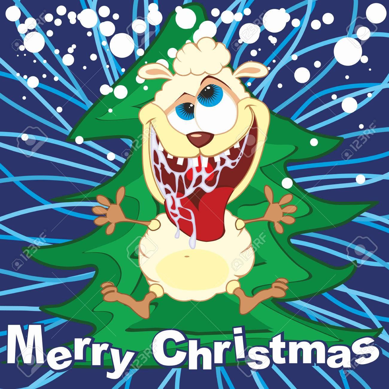 cartoon funny sheep illustration merry christmas greeting card stock vector 32543574 - Funny Merry Christmas Greetings