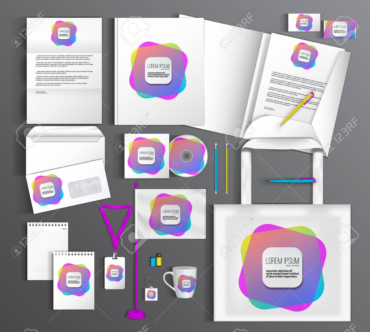 White Corporate Identity Template With Color Elements. Vector ...