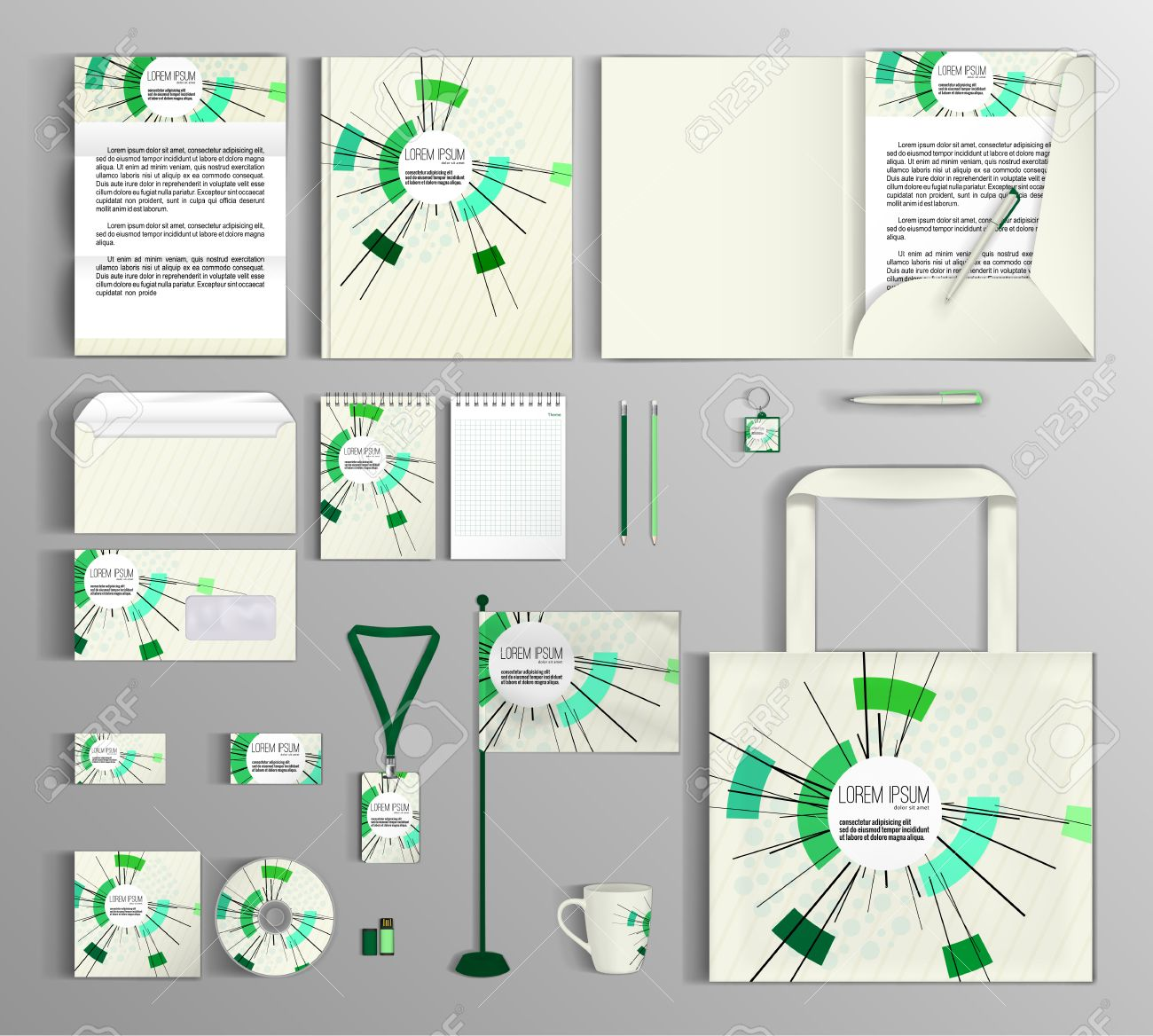 Corporate Identity Template Design With Abstract Composition ...