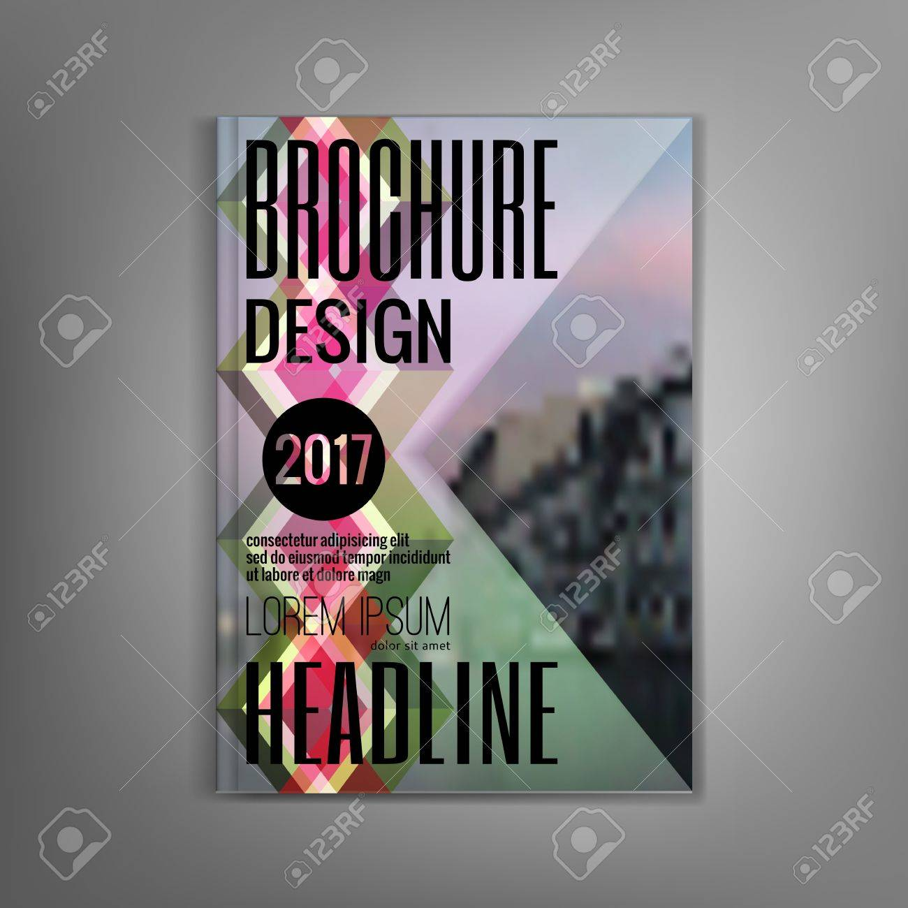 design magazine cover template with multicolored rhombus leaflets