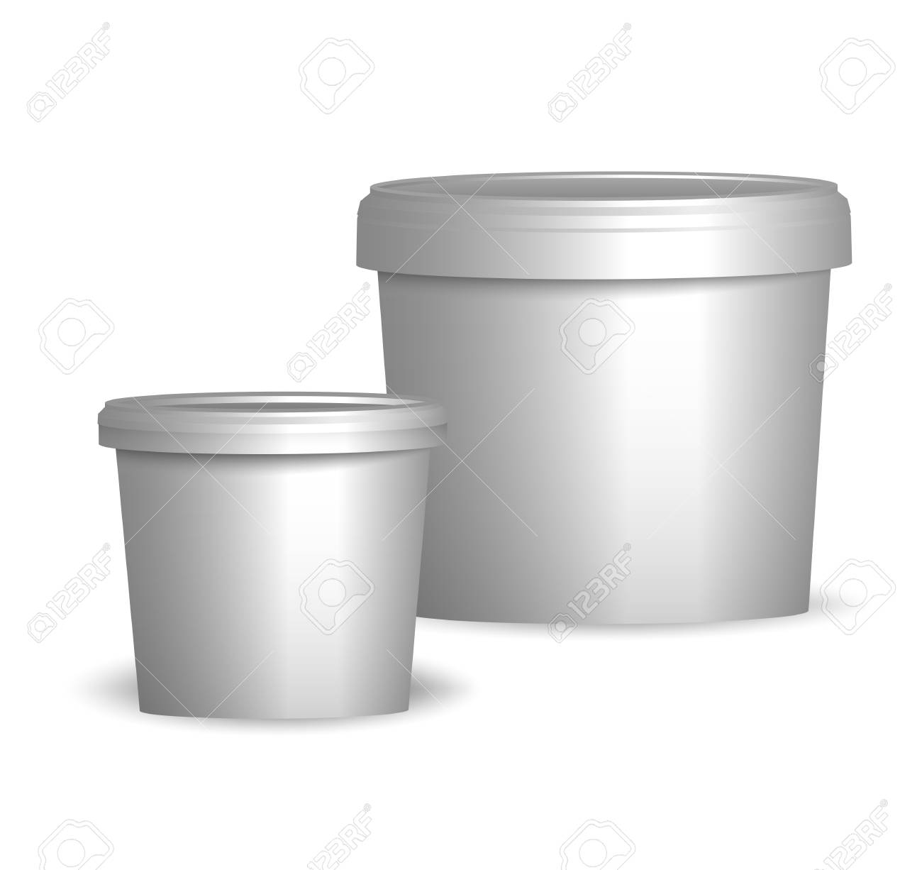 Bucket Template | Mock Up Template Ready Design White Plastic Tub Bucket Container