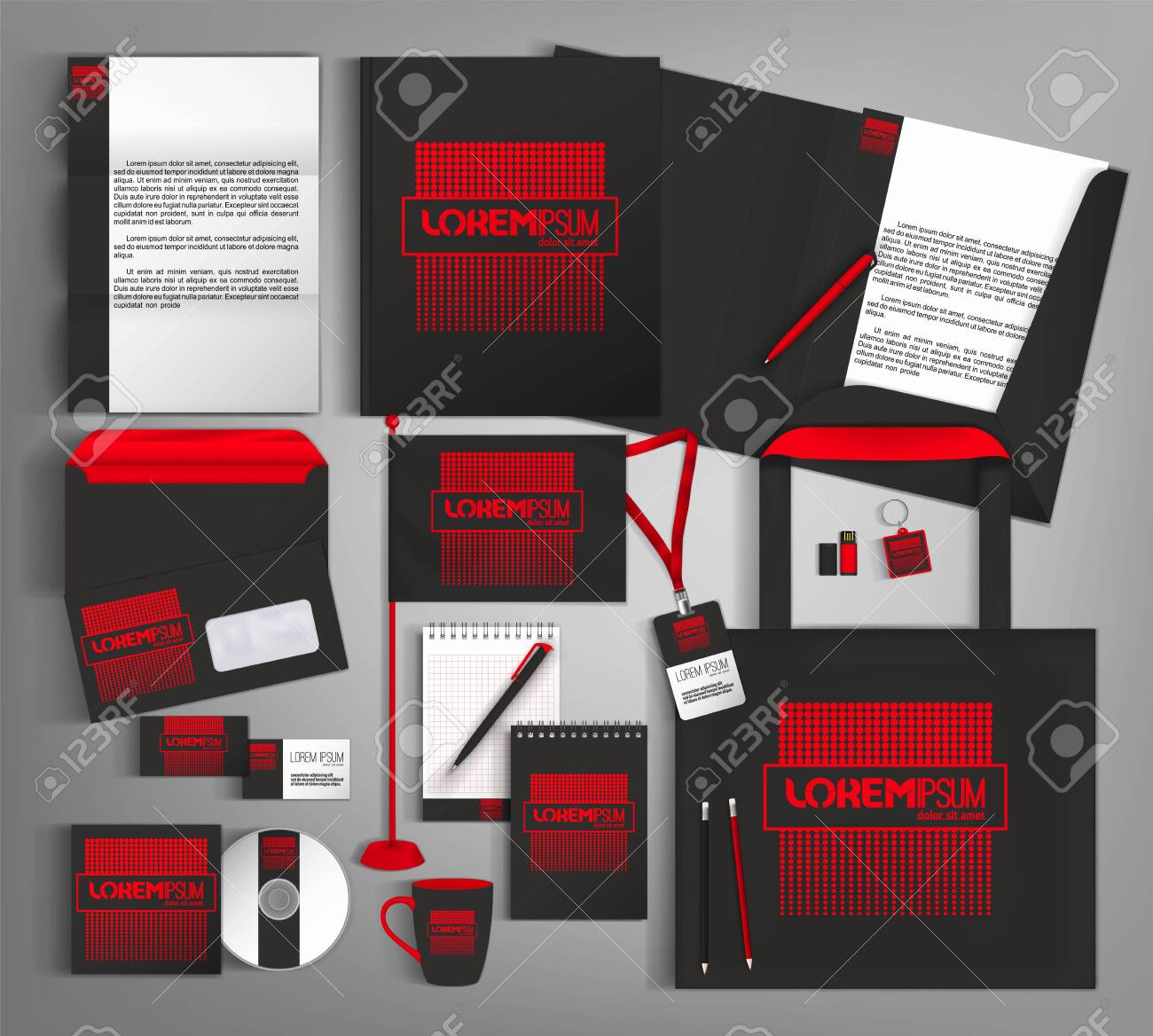 Black and red trendy corporate identity template design. - 124469292