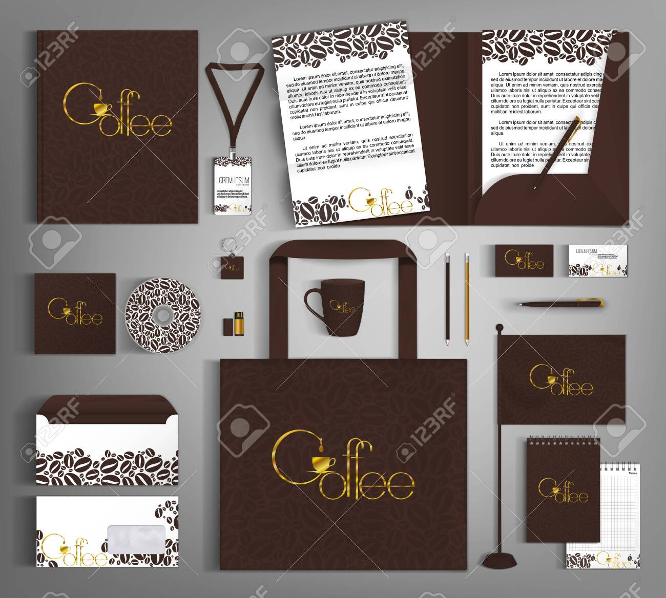 Corporate identity template with grains and golden coffee lettering - 135461662