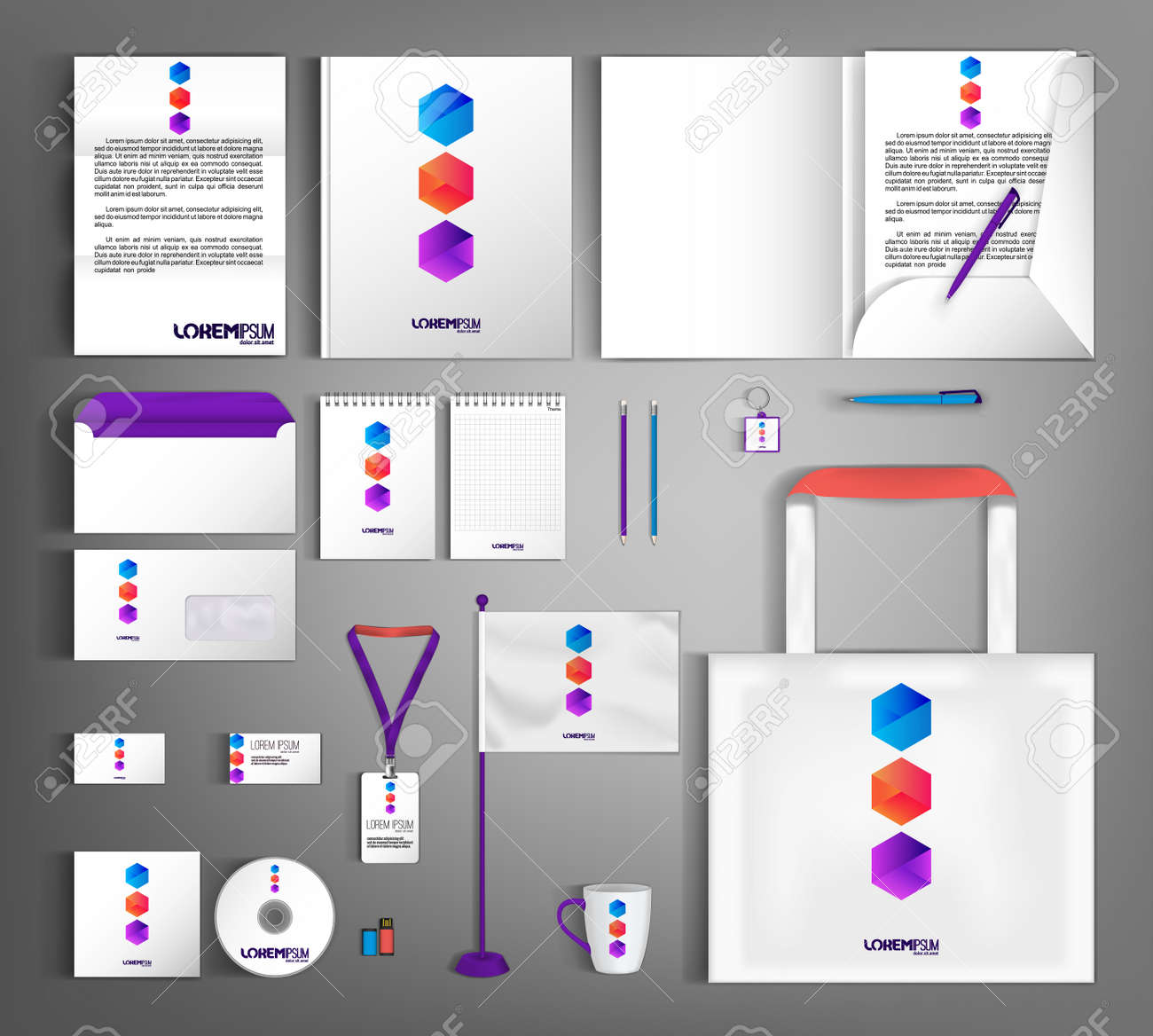 White corporate identity template design with geometric colorful object. - 155187536