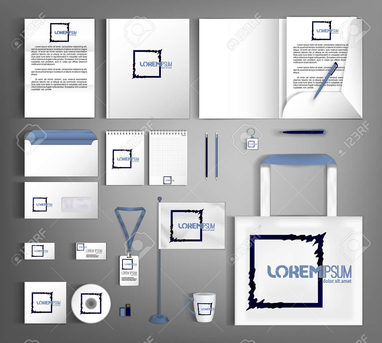 White corporate identity template with geometric black object. A set of business office supplies. - 156932384