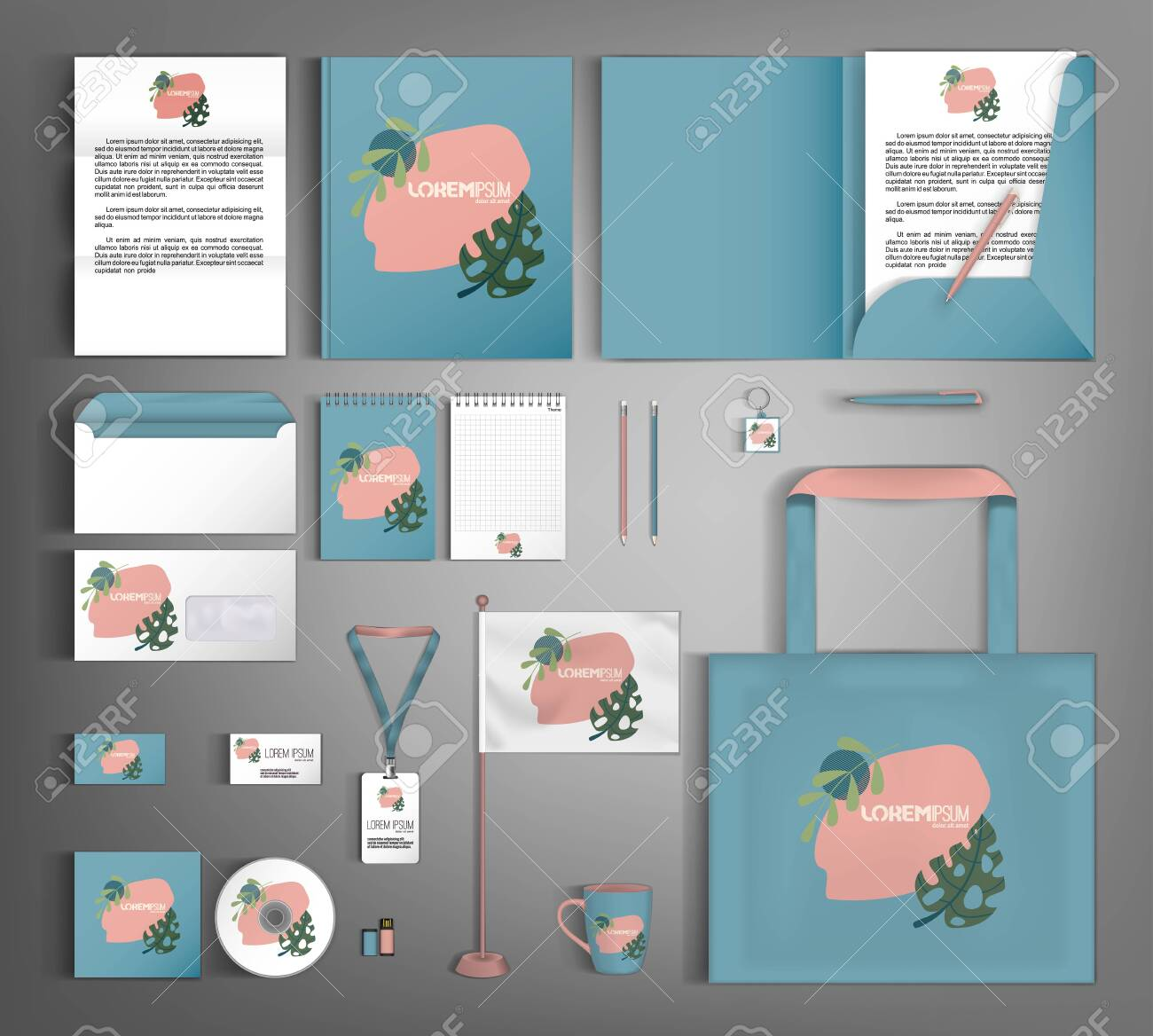 Corporate identity template with minimalist style floral ornament. Set of business office supplies. - 157164296