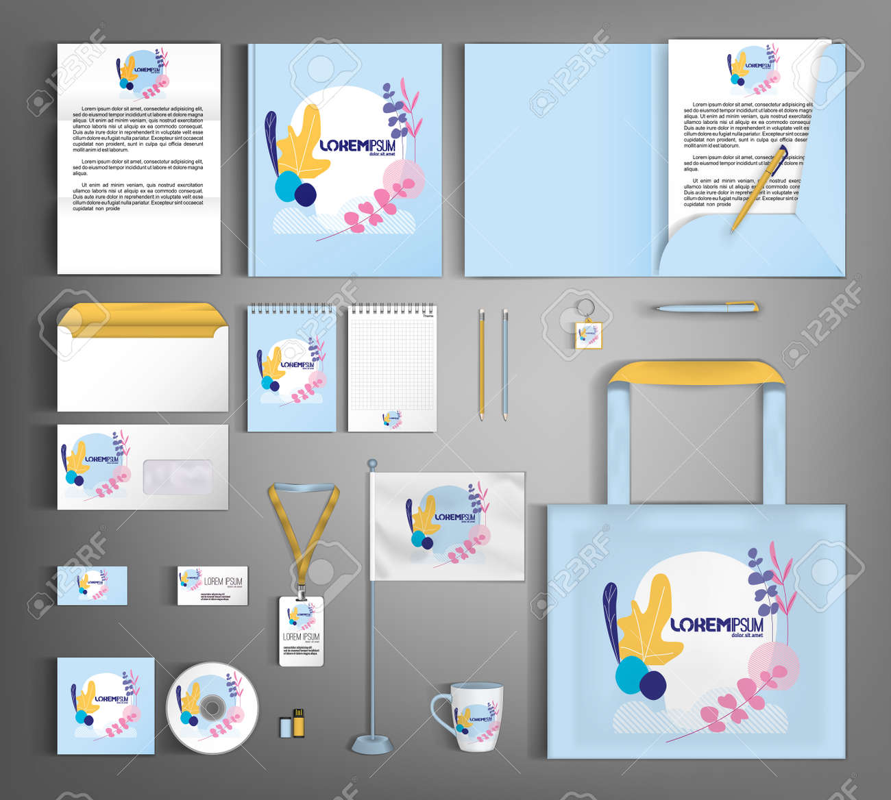 Corporate identity template with minimalist style floral ornament. Set of business office supplies. - 157164300