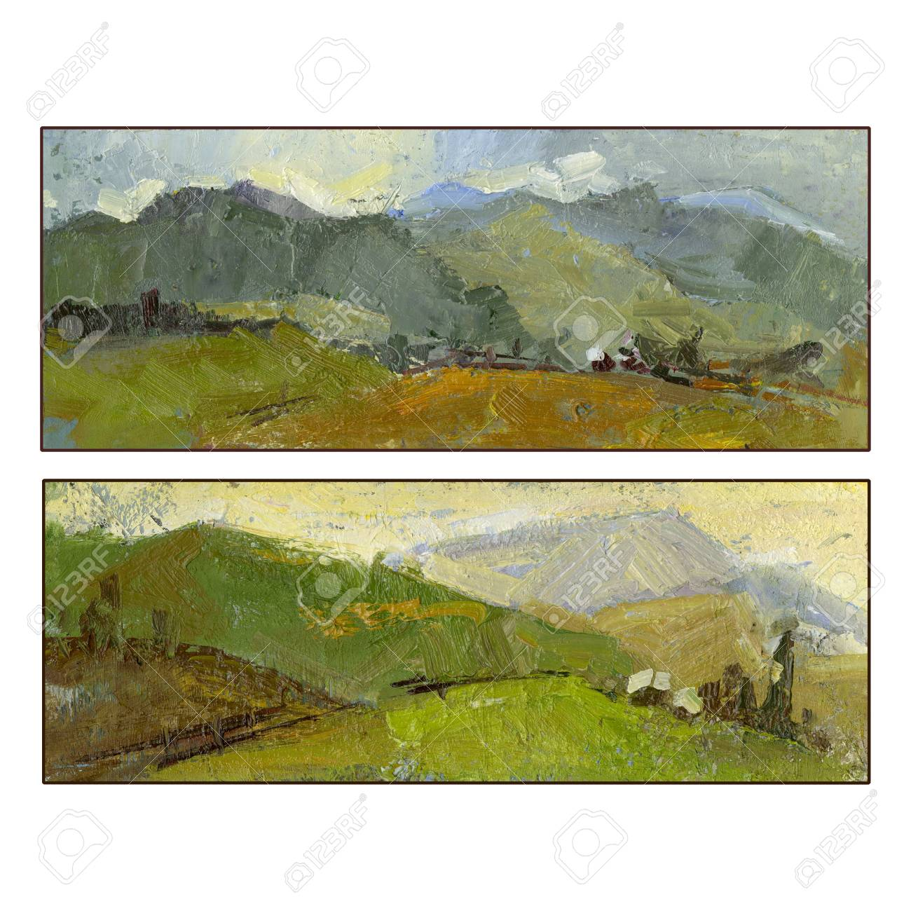 Set of two summer mountain landscapes oil painting hand painted set of two summer mountain landscapes oil painting hand painted square frame kristyandbryce Images