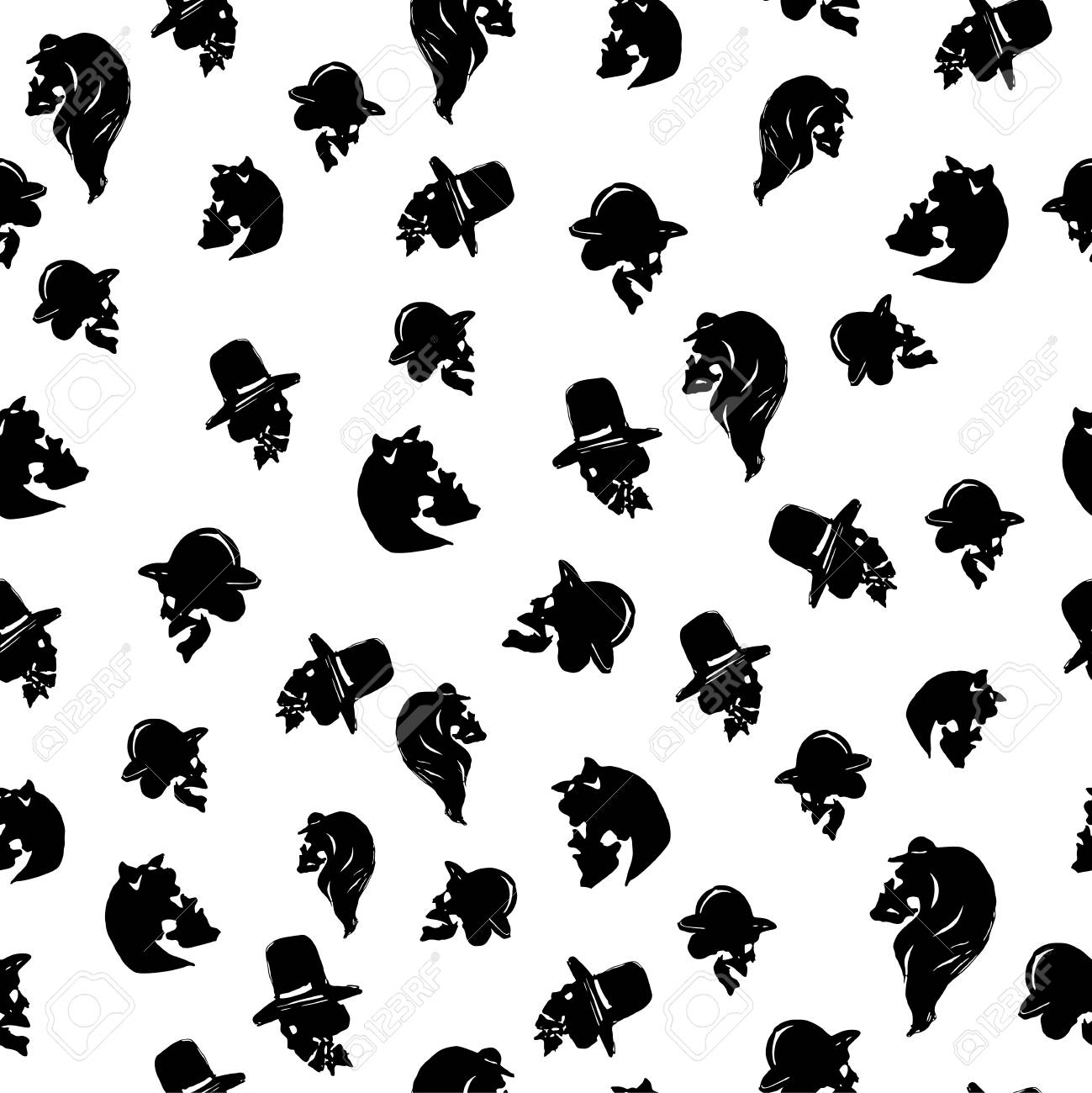 Male and female skulles in hats of different types black seamless male and female skulles in hats of different types black seamless pattern on white background kristyandbryce Images