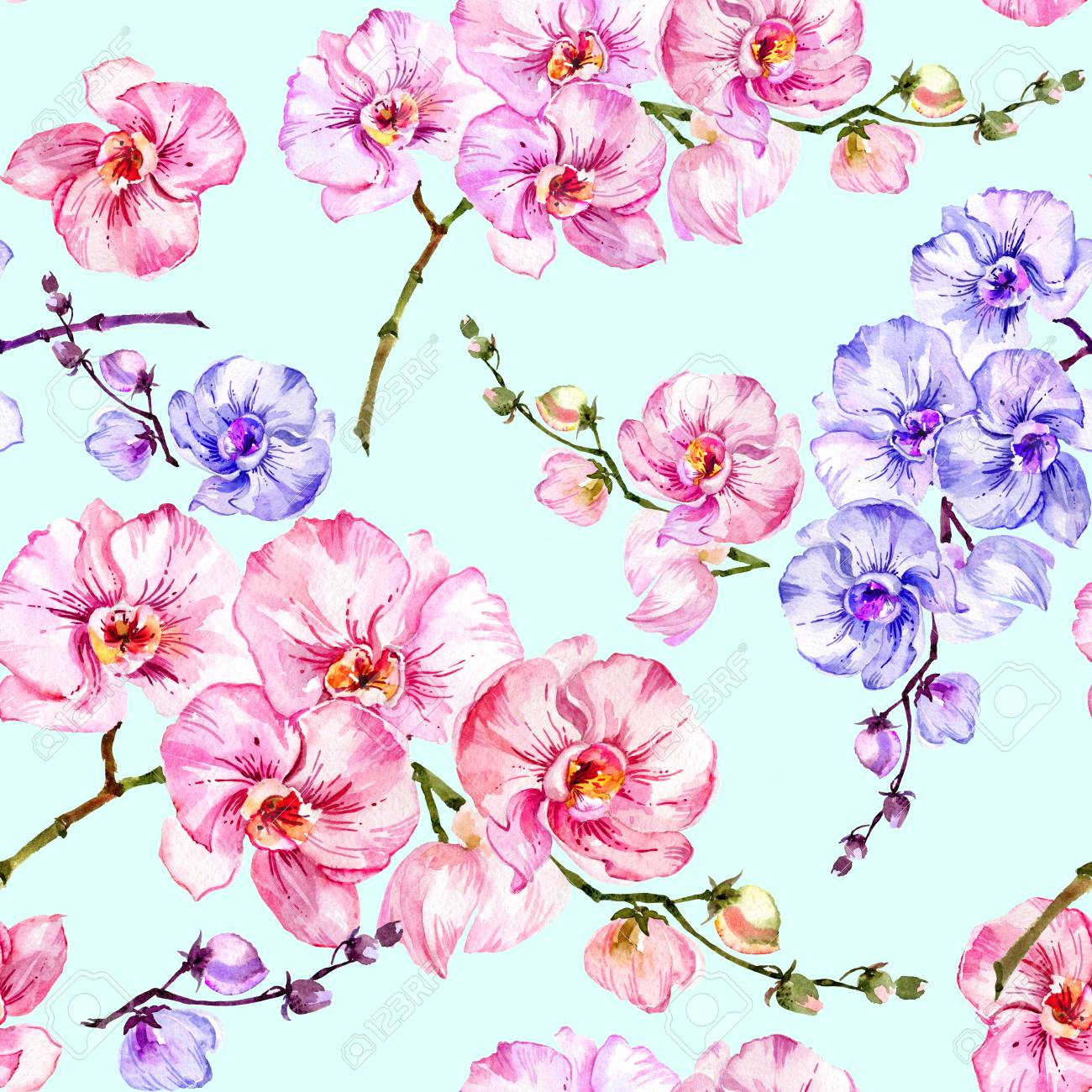 Blue And Pink Orchid Flowers On Light Blue Background Seamless
