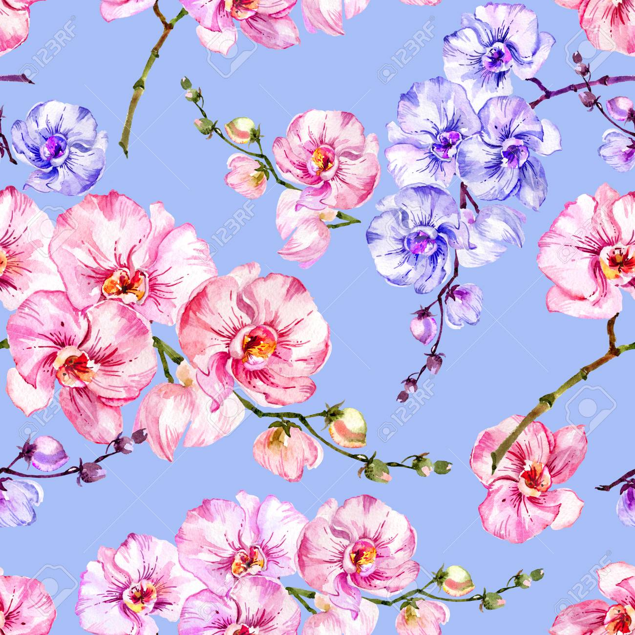 Purple And Pink Orchid Flowers On Bright Blue Background Seamless