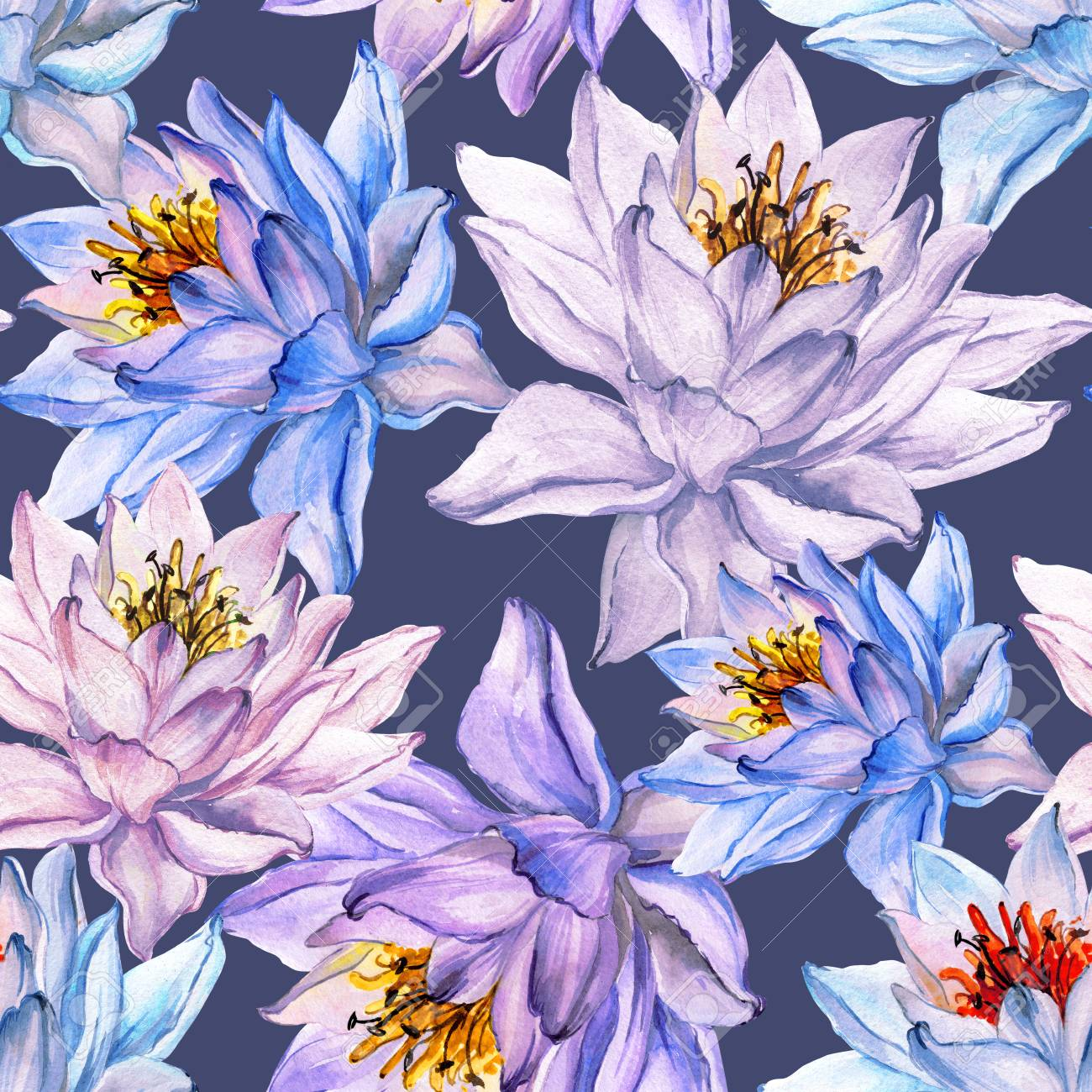 Beautiful floral seamless pattern large colorful lotus flowers beautiful floral seamless pattern large colorful lotus flowers on gray background hand drawn illustration mightylinksfo