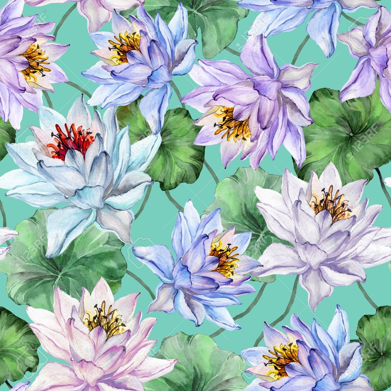 Beautiful floral seamless pattern large colorful lotus flowers beautiful floral seamless pattern large colorful lotus flowers with leaves on turquoise background hand mightylinksfo