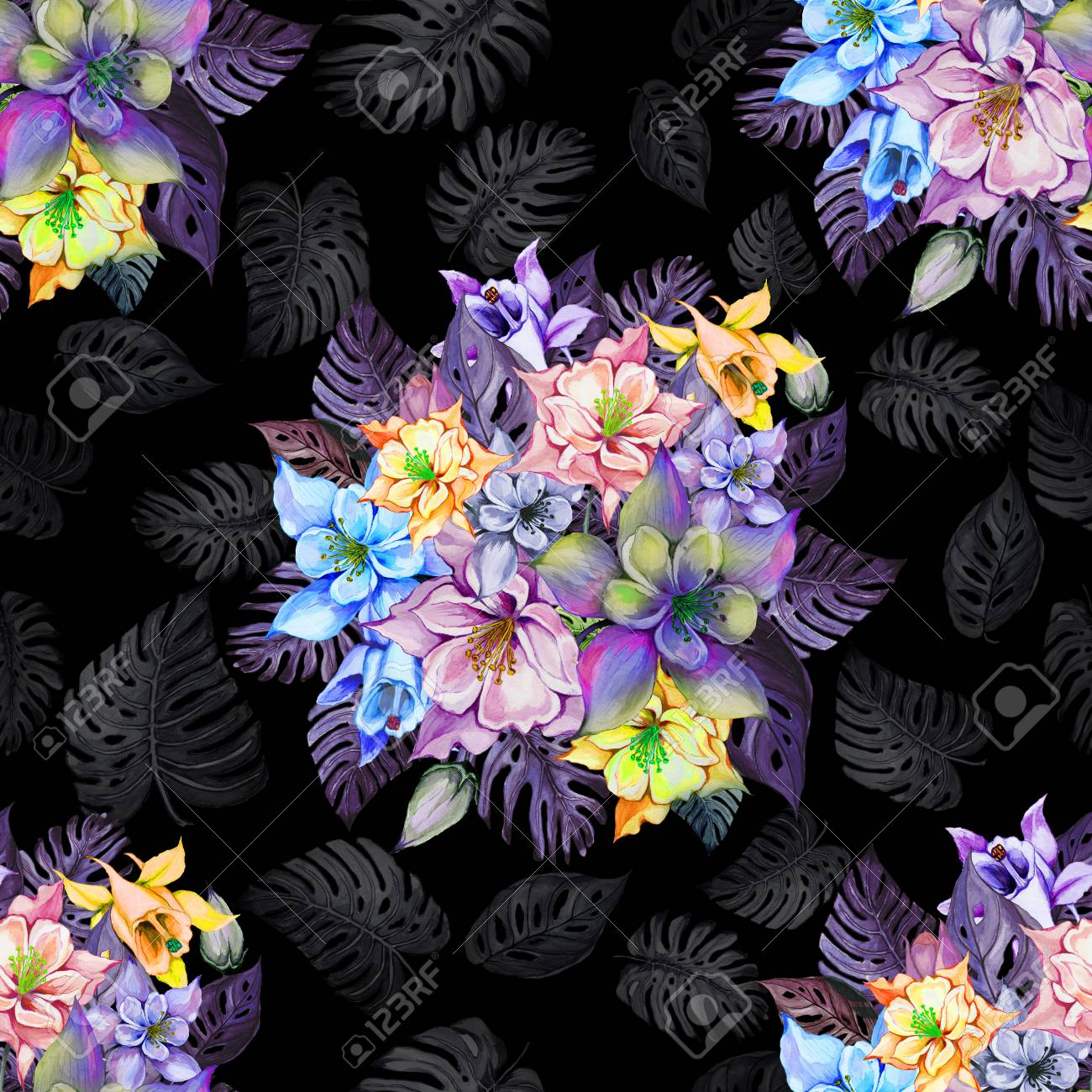 Round bunch of beautiful columbine flowers or aquilegia and exotic illustration round bunch of beautiful columbine flowers or aquilegia and exotic monstera leaves on black background watercolor painting izmirmasajfo