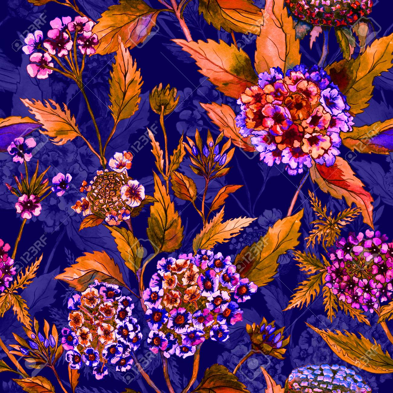 Beautiful Bright Flowers With Orange Leaves On Dark Blue Background Seamless Floral Pattern Watercolor Painting Hand Drawn Illustration Can Be Used As Design For Fabric Or Wallpaper Stock Photo Picture And Royalty