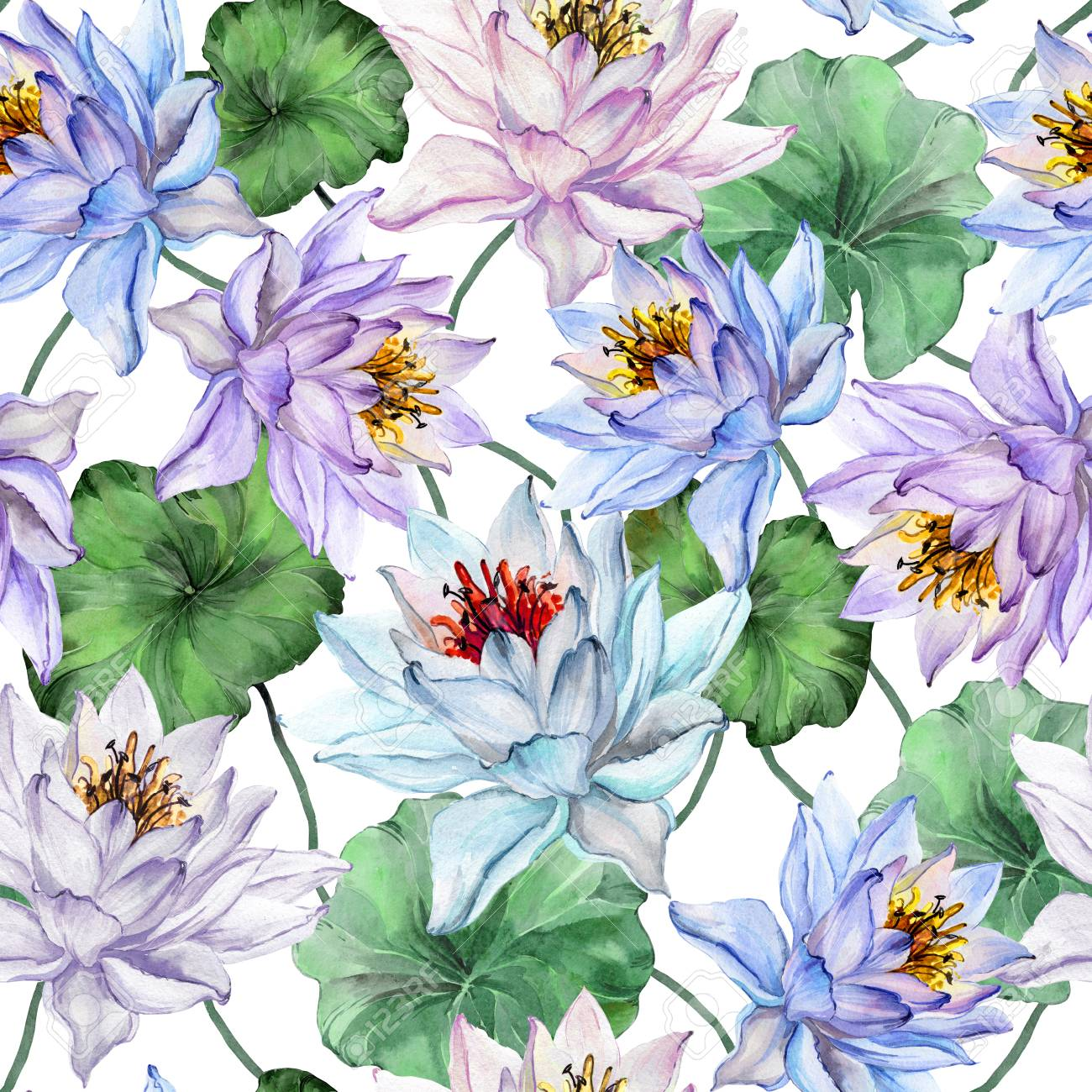 Design Of Textile Or Wallpaper Beautiful Floral Seamless Pattern Large Blue And Purple Lotus Flowers With Leaves On White Background