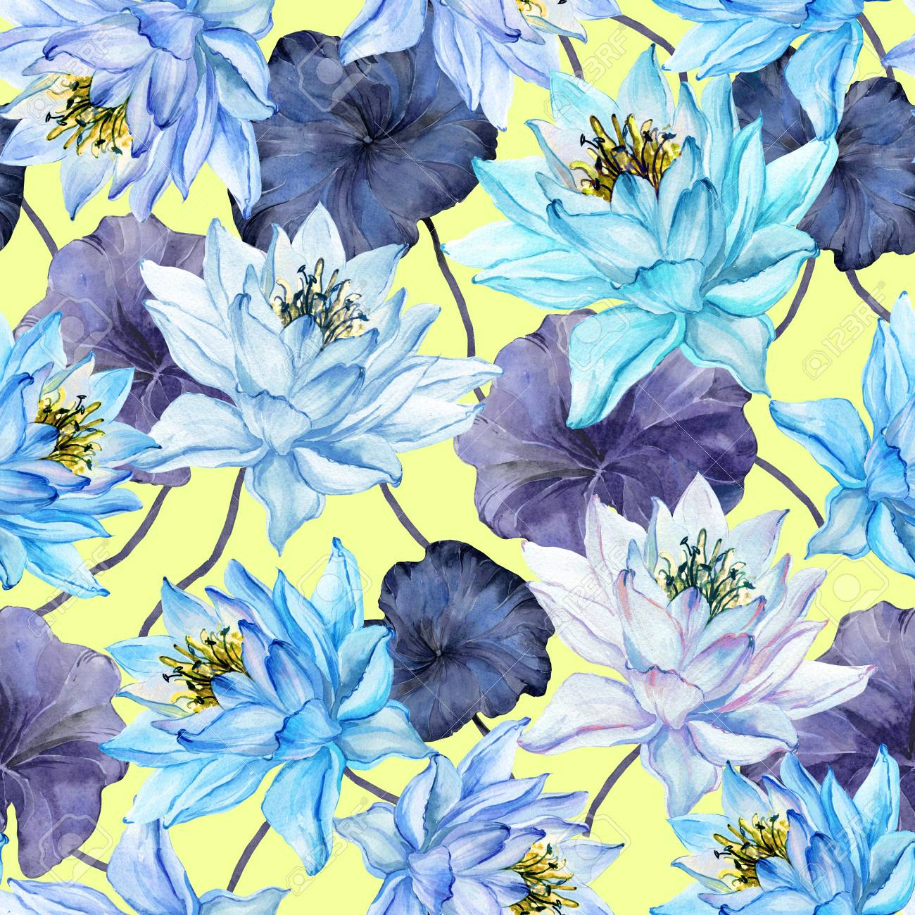 Beautiful Floral Seamless Pattern Large Blue Lotus Flowers With