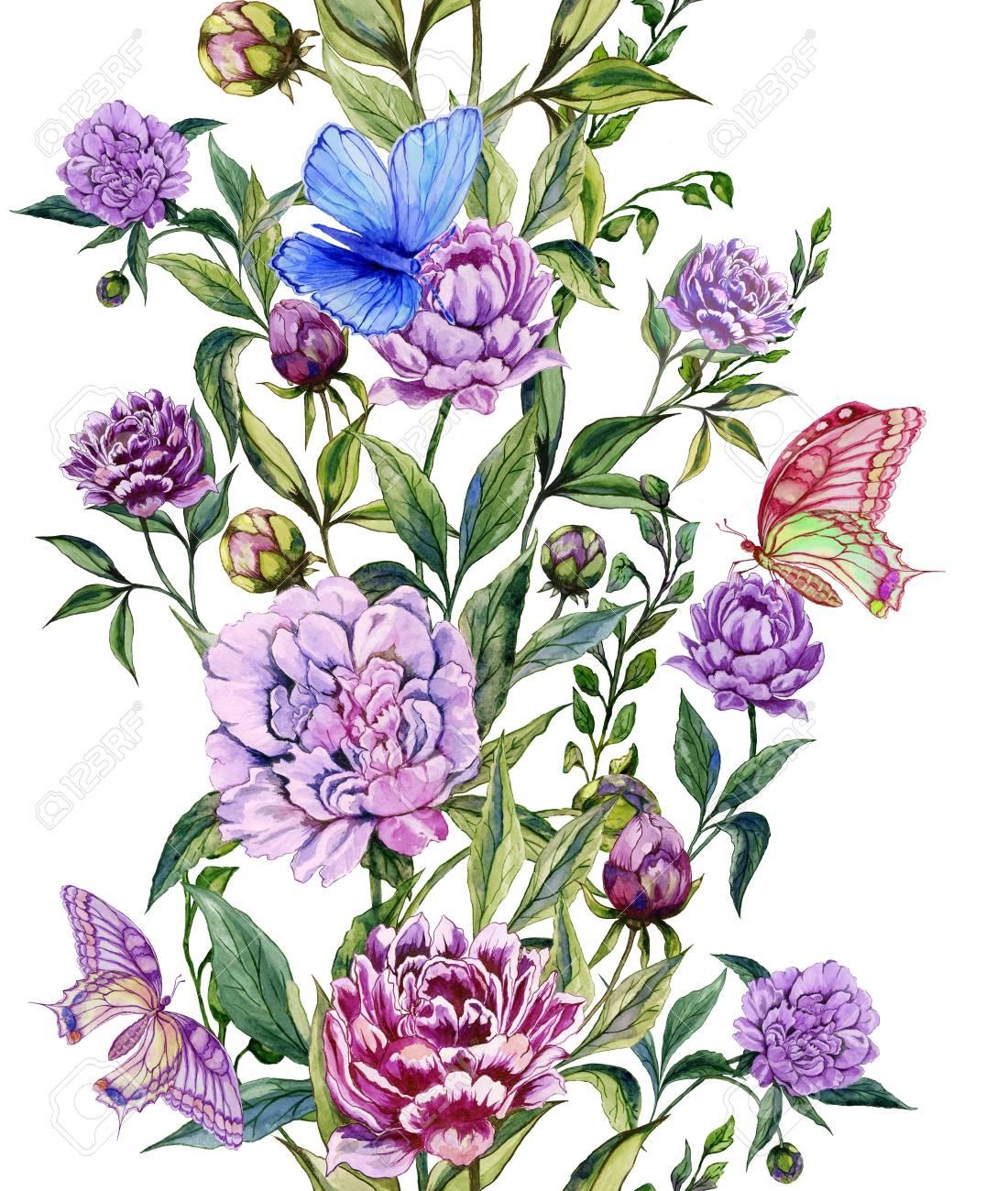 Beautiful purple peony flowers on a stems with green leaves and beautiful purple peony flowers on a stems with green leaves and bright butterflies sitting on them mightylinksfo