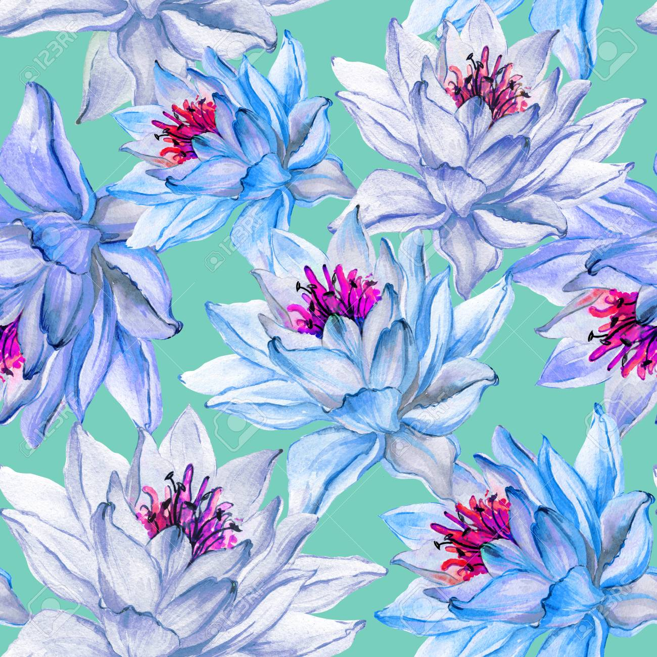 Beautiful Floral Seamless Pattern Large Blue Lotus Flowers On Light Green Background Hand Drawn