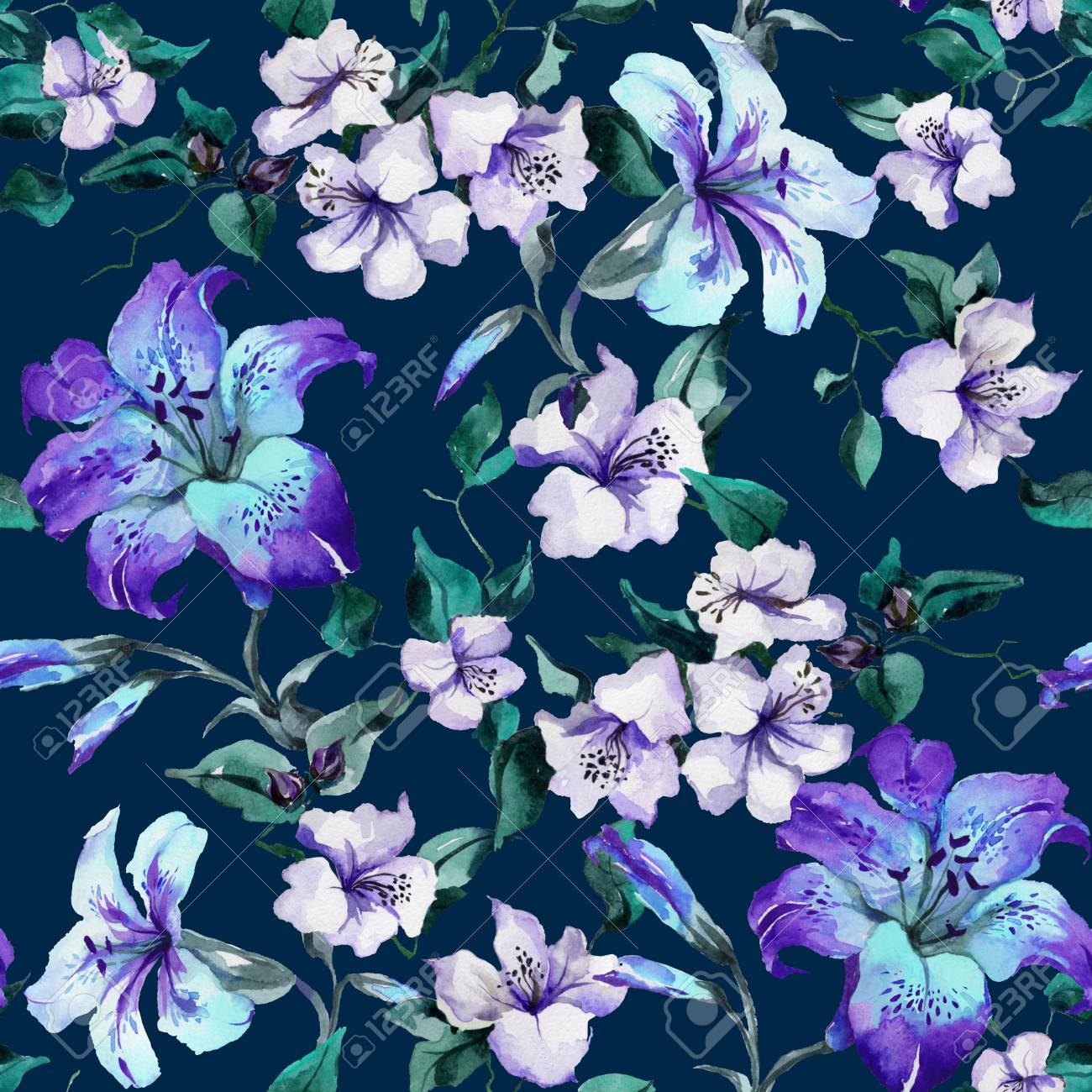 f08e44a5c6ca Beautiful purple tiger lilies on twigs on deep blue background. Seamless  floral pattern. Watercolor