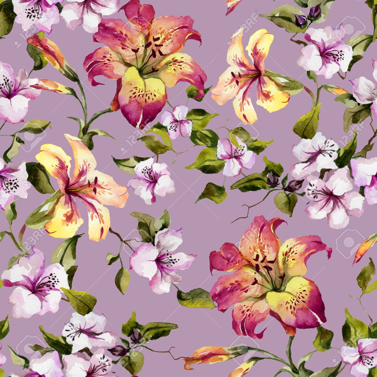 735e39accb1e Beautiful tiger lilies and small purple flowers on twigs against lilac  background. Seamless floral pattern