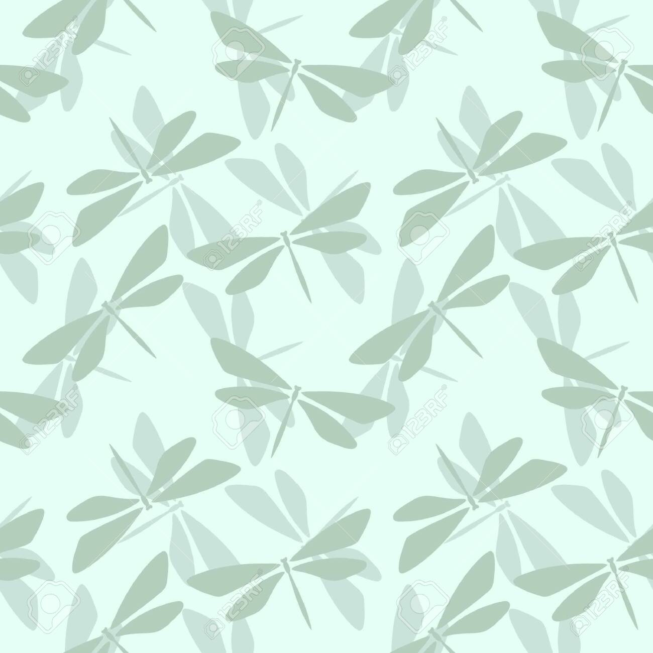 Pastel green seamless repeat pattern with dragonfly elements. - 151505825