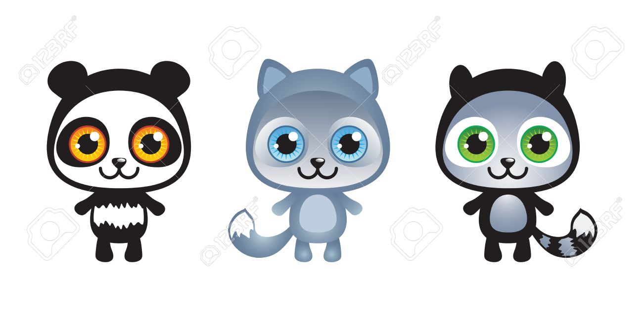 Cute cartoon animals with big eyes - Set Of Thee Cute Funny Baby Animals Stock Vector 15458850